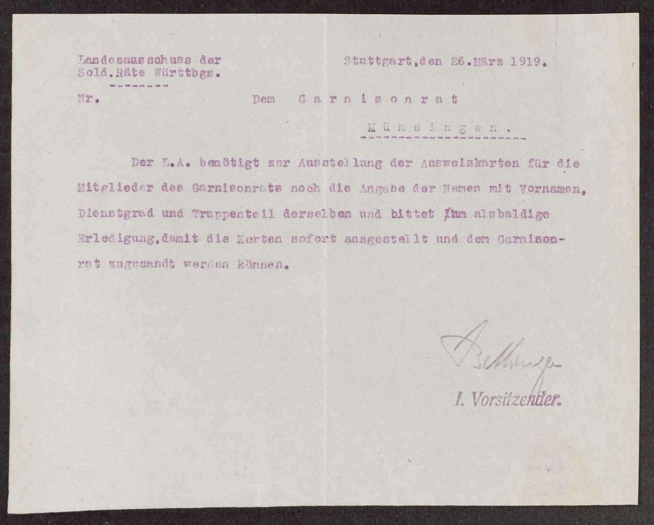 Garnisonsrat Münsingen: Zusammensetzung, Aufhebung, Bild 1