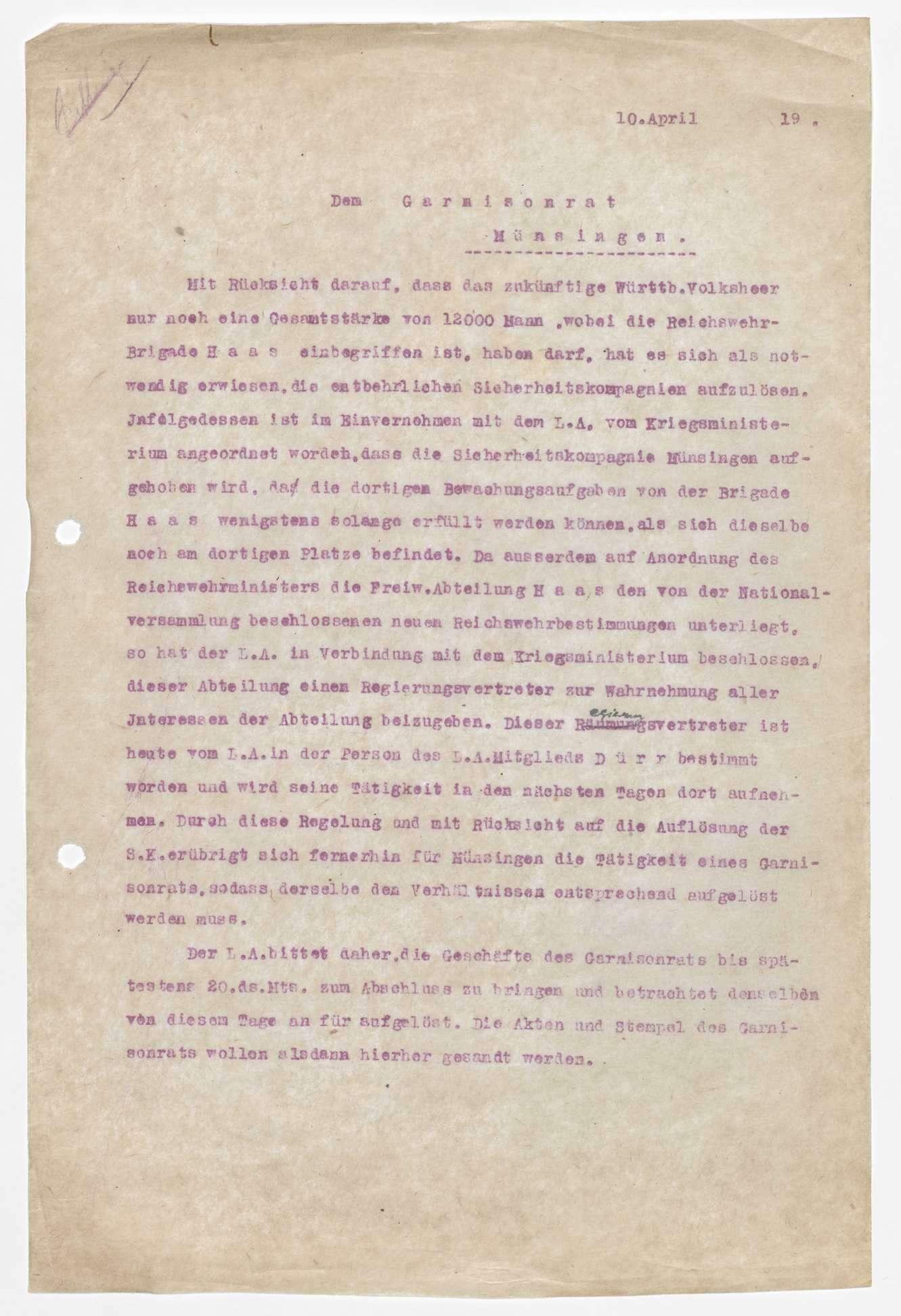Garnisonsrat Münsingen: Zusammensetzung, Aufhebung, Bild 3