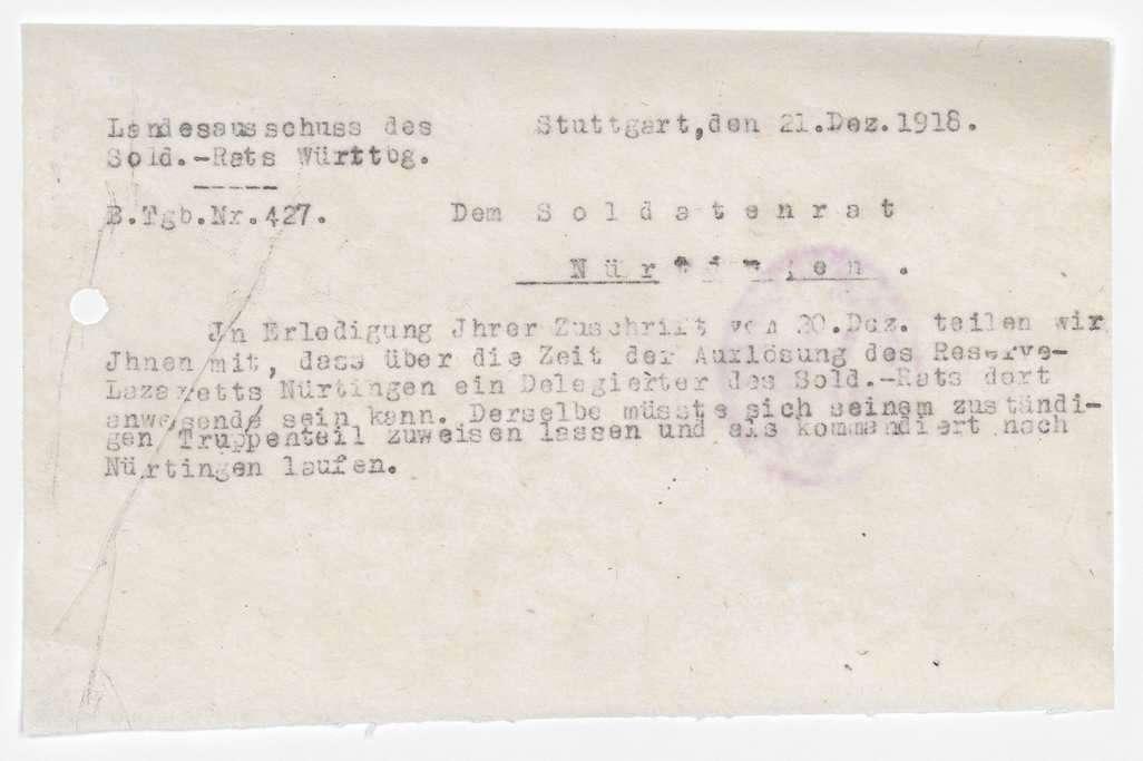 Soldatenrat Nürtingen: Zusammensetzung, Aufhebung, Bild 3