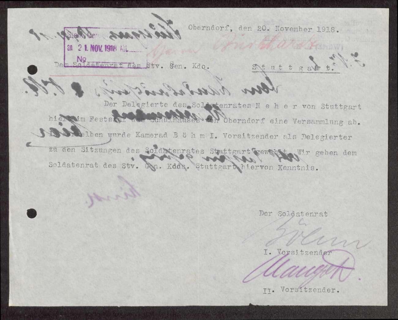 Garnisonsrat Oberndorf: Zusammensetzung, Aufhebung, Kontrolle durch den Landesausschuss, Bild 1