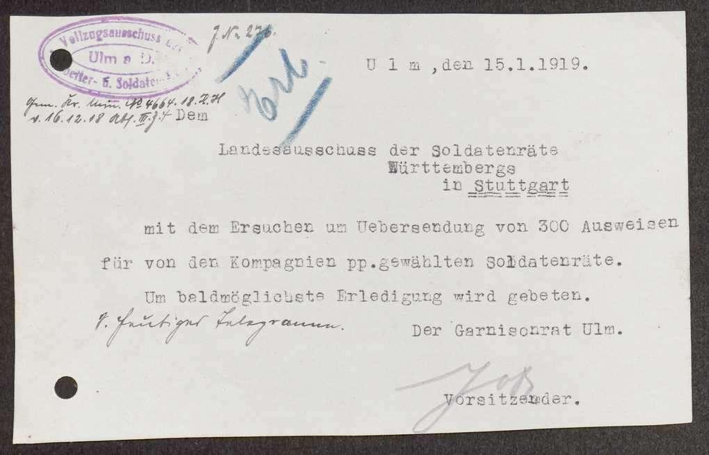 Garnisonsrat Ulm: Unterstellung von Biberach und Geislingen, Wahlen und Zusammensetzung, Ausweise, Bild 2