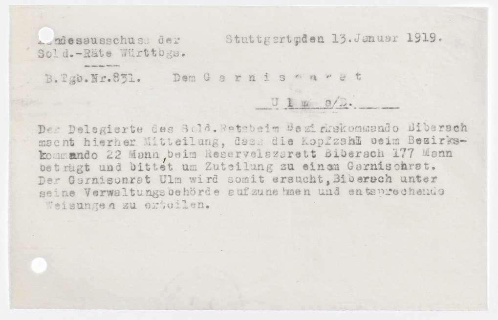 Garnisonsrat Ulm: Unterstellung von Biberach und Geislingen, Wahlen und Zusammensetzung, Ausweise, Bild 3