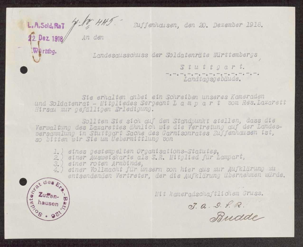 Garnisonsrat Zuffenhausen: Unterstellung von Hirsau, Wahl und Zusammensetzung, Aufhebung, Bild 1