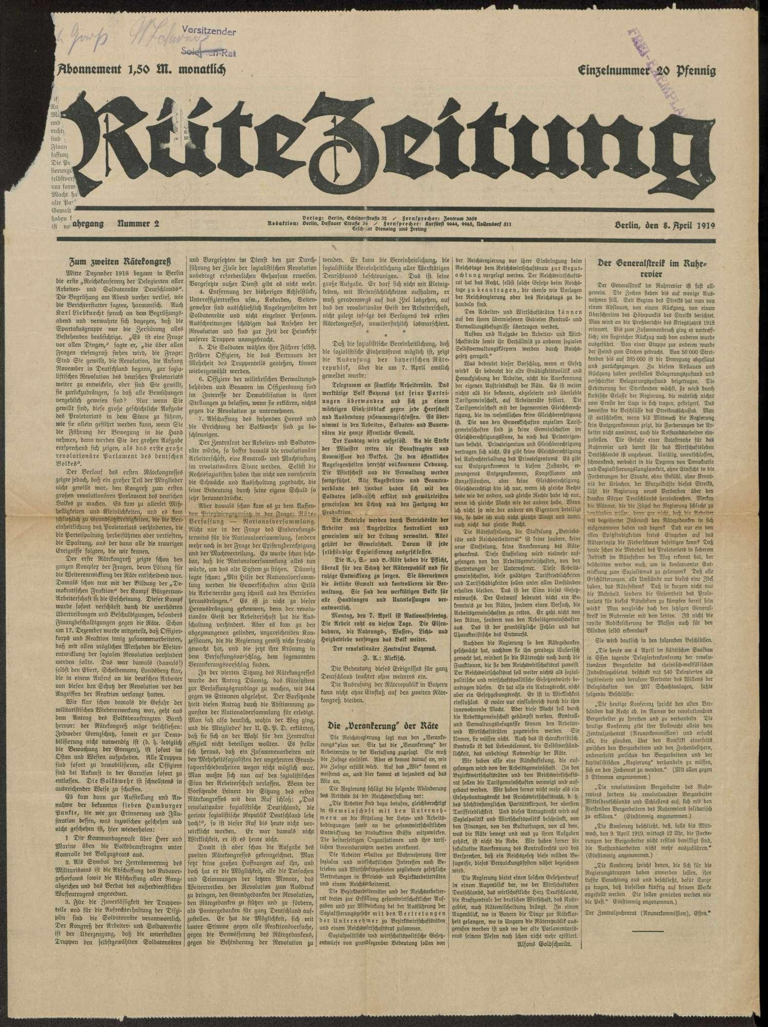 Rätezeitung, Bild 1