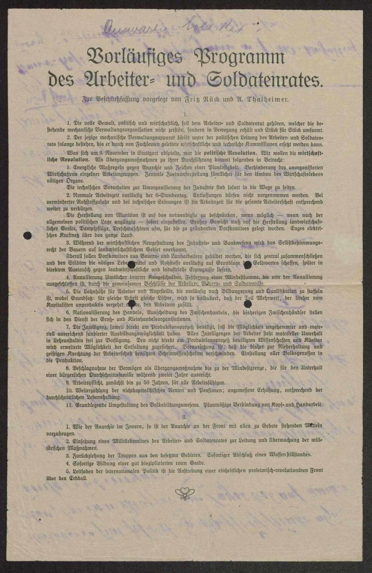 Vorläufiges Programm der Arbeiter- und Soldatenräte von Fritz Rück und A. Thalheimer, Bild 1