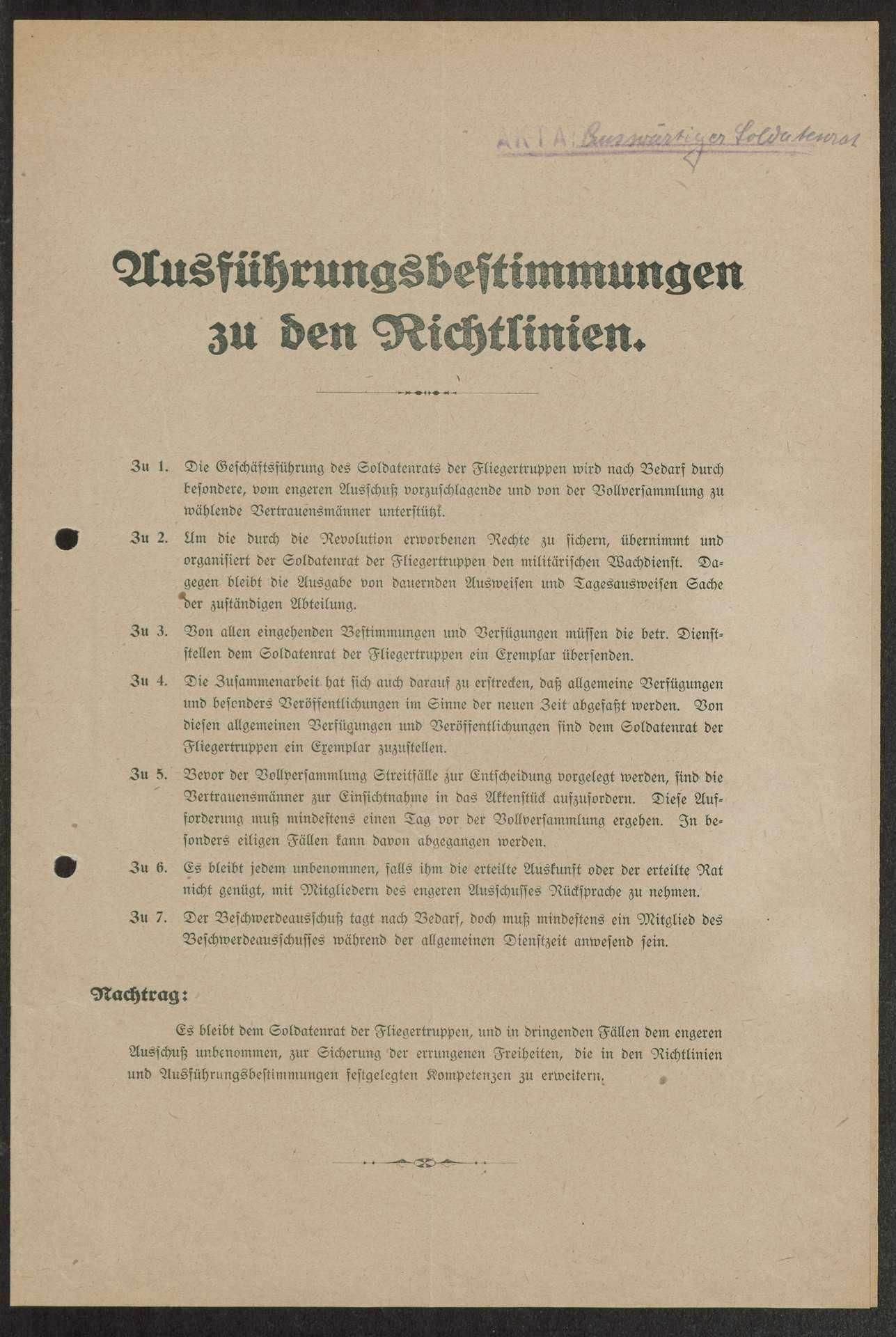 Bildung des Zentralsoldatenrats der Fliegertruppen, Protokoll des Delegiertentags der deutschen Fliegerverbände in (Berlin-) Charlottenburg, Bild 1