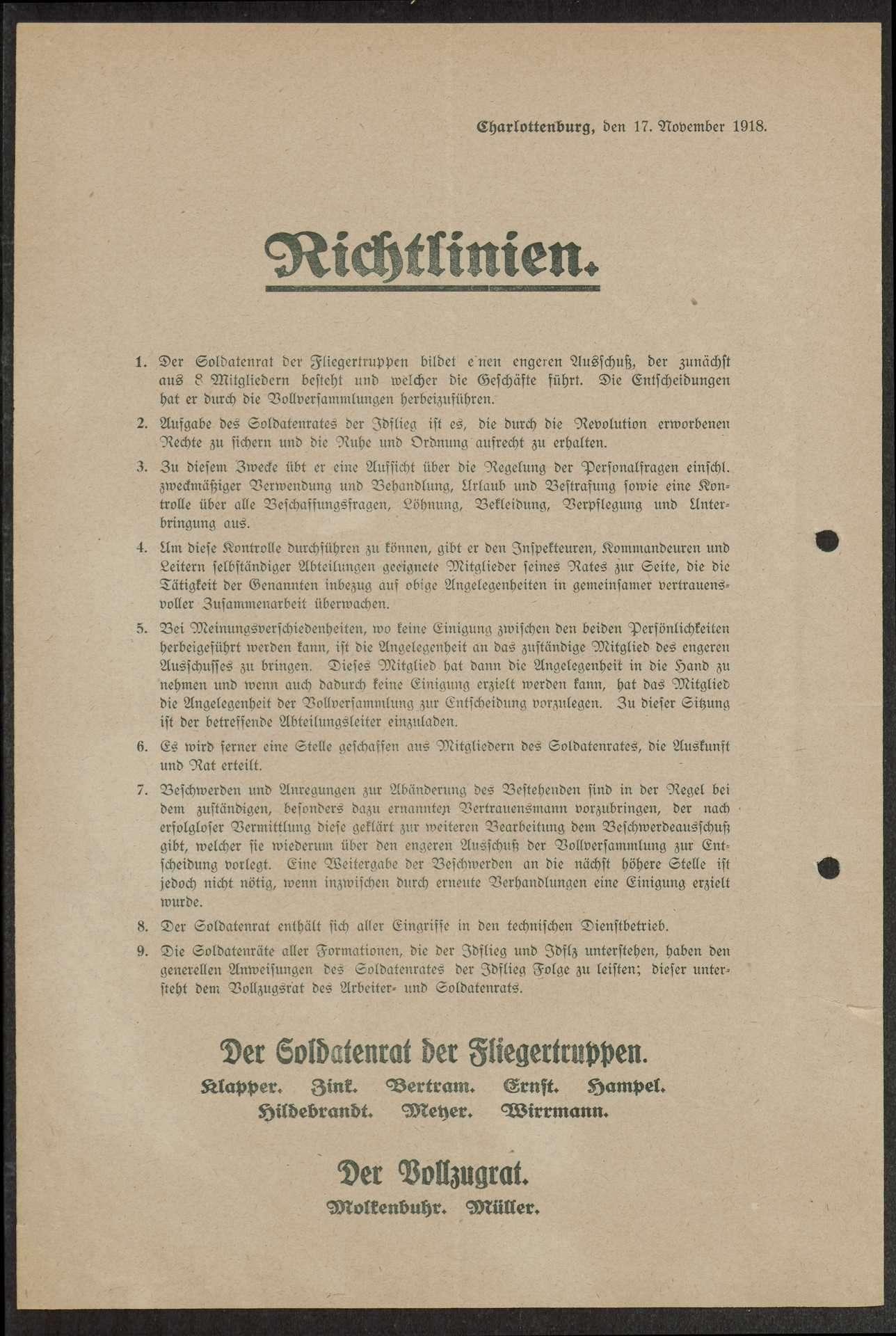 Bildung des Zentralsoldatenrats der Fliegertruppen, Protokoll des Delegiertentags der deutschen Fliegerverbände in (Berlin-) Charlottenburg, Bild 2