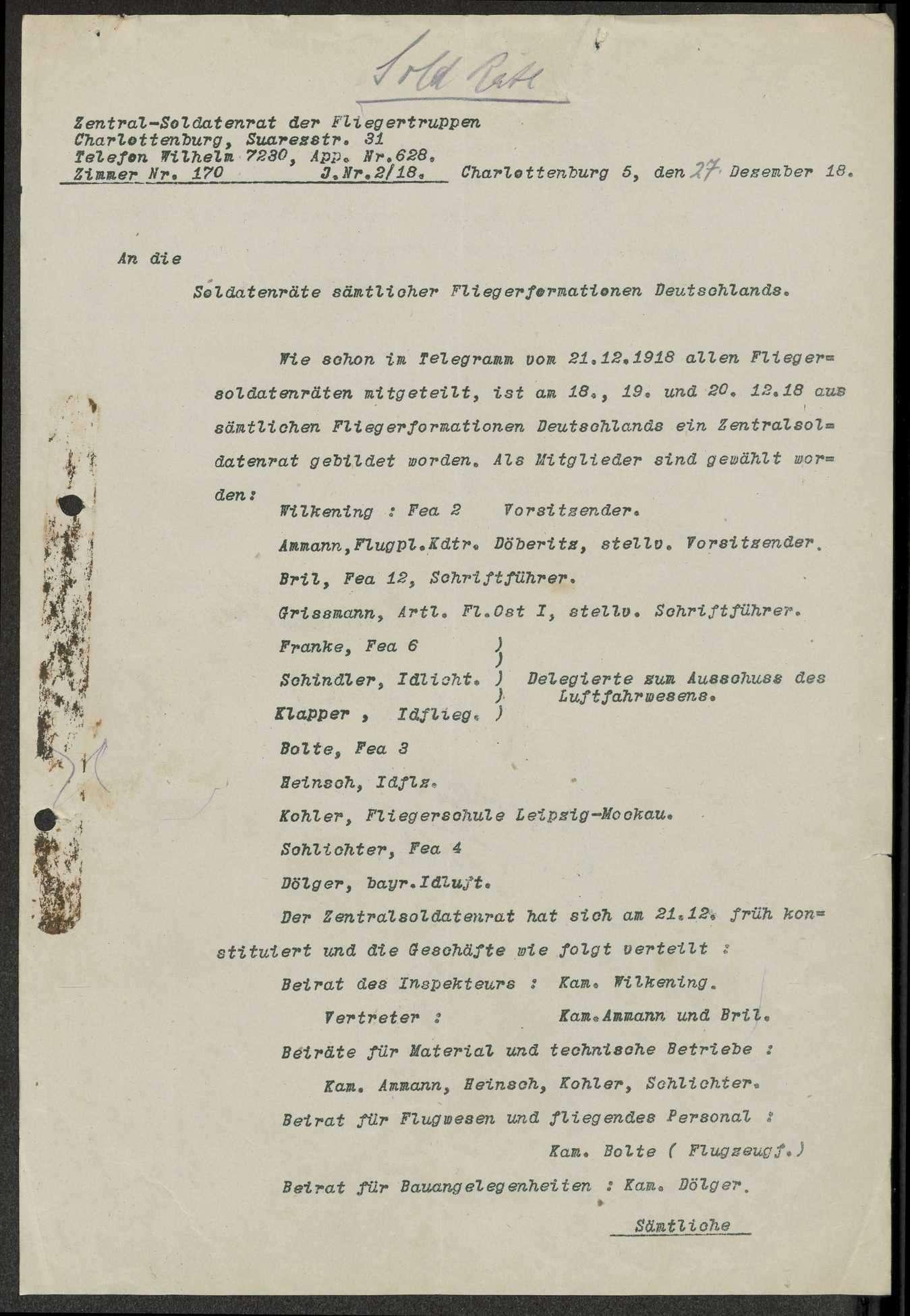 Bildung des Zentralsoldatenrats der Fliegertruppen, Protokoll des Delegiertentags der deutschen Fliegerverbände in (Berlin-) Charlottenburg, Bild 3