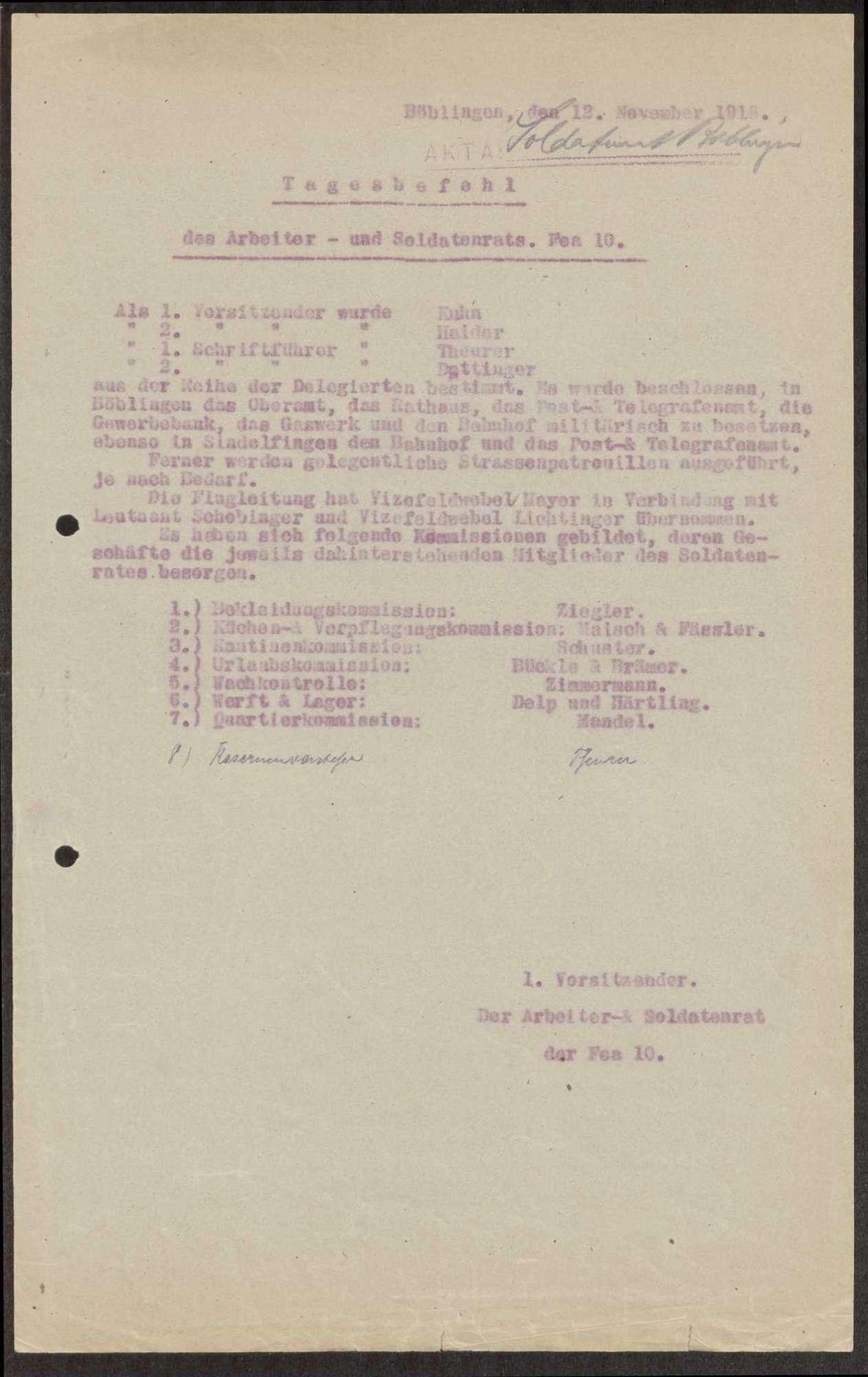 Zusammensetzung des Garnison- und Soldatenrates der Flieger-Ersatz-Abteilung 10, Bild 1