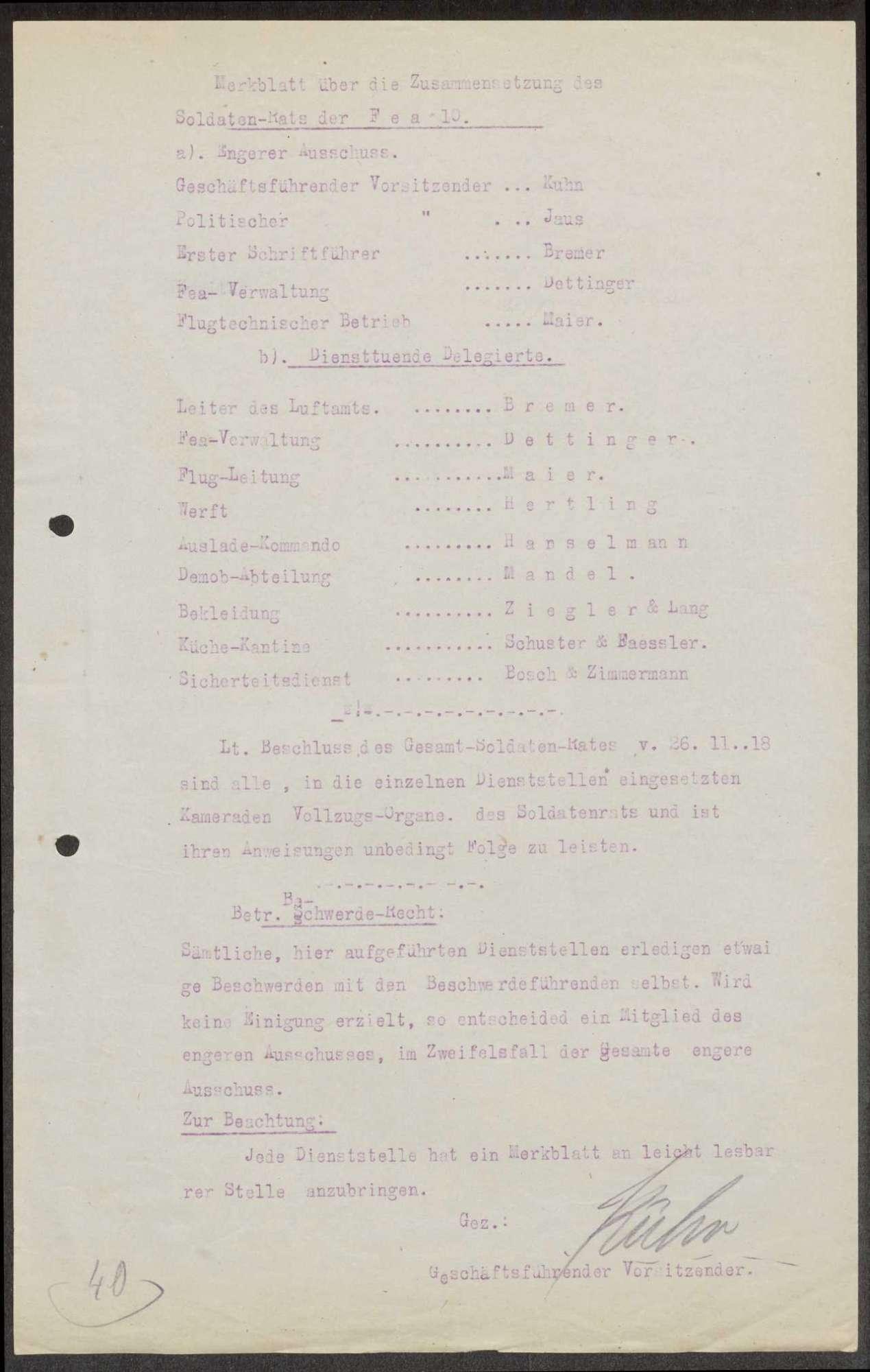Zusammensetzung des Garnison- und Soldatenrates der Flieger-Ersatz-Abteilung 10, Bild 2