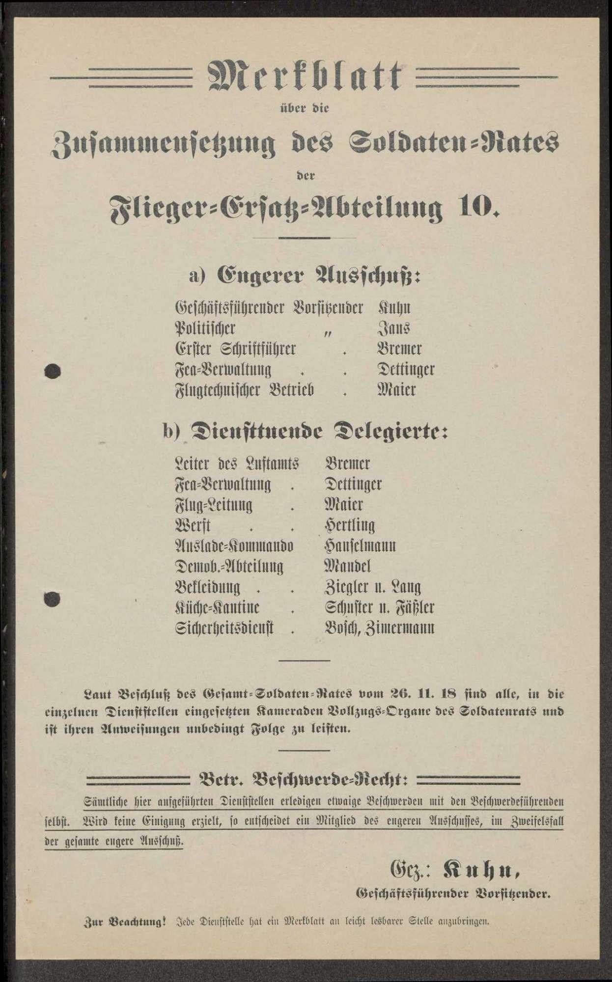 Zusammensetzung des Garnison- und Soldatenrates der Flieger-Ersatz-Abteilung 10, Bild 3