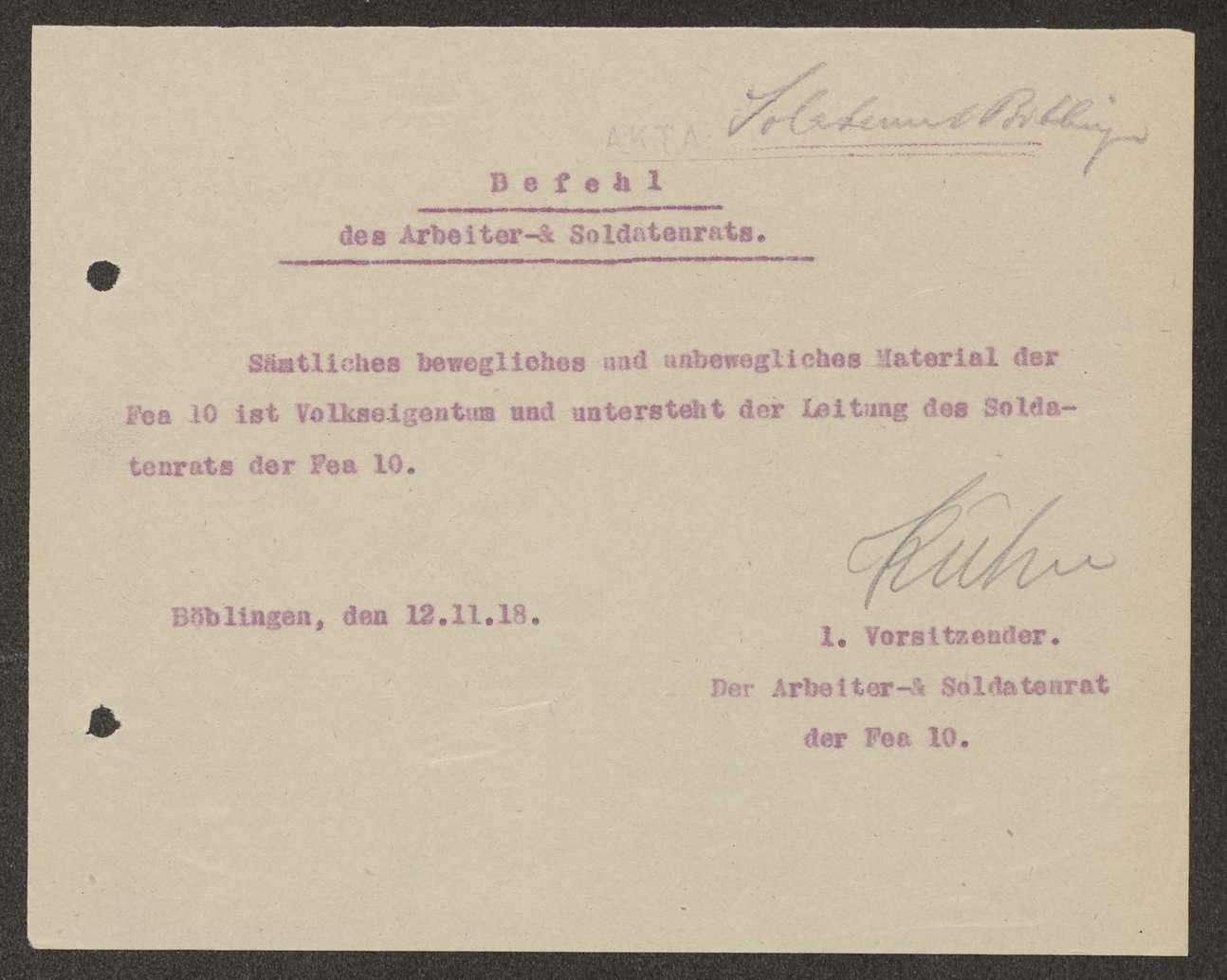 Befugnisse des Soldatenrats bei der Flieger-Ersatz-Abteilung 10, Bild 1