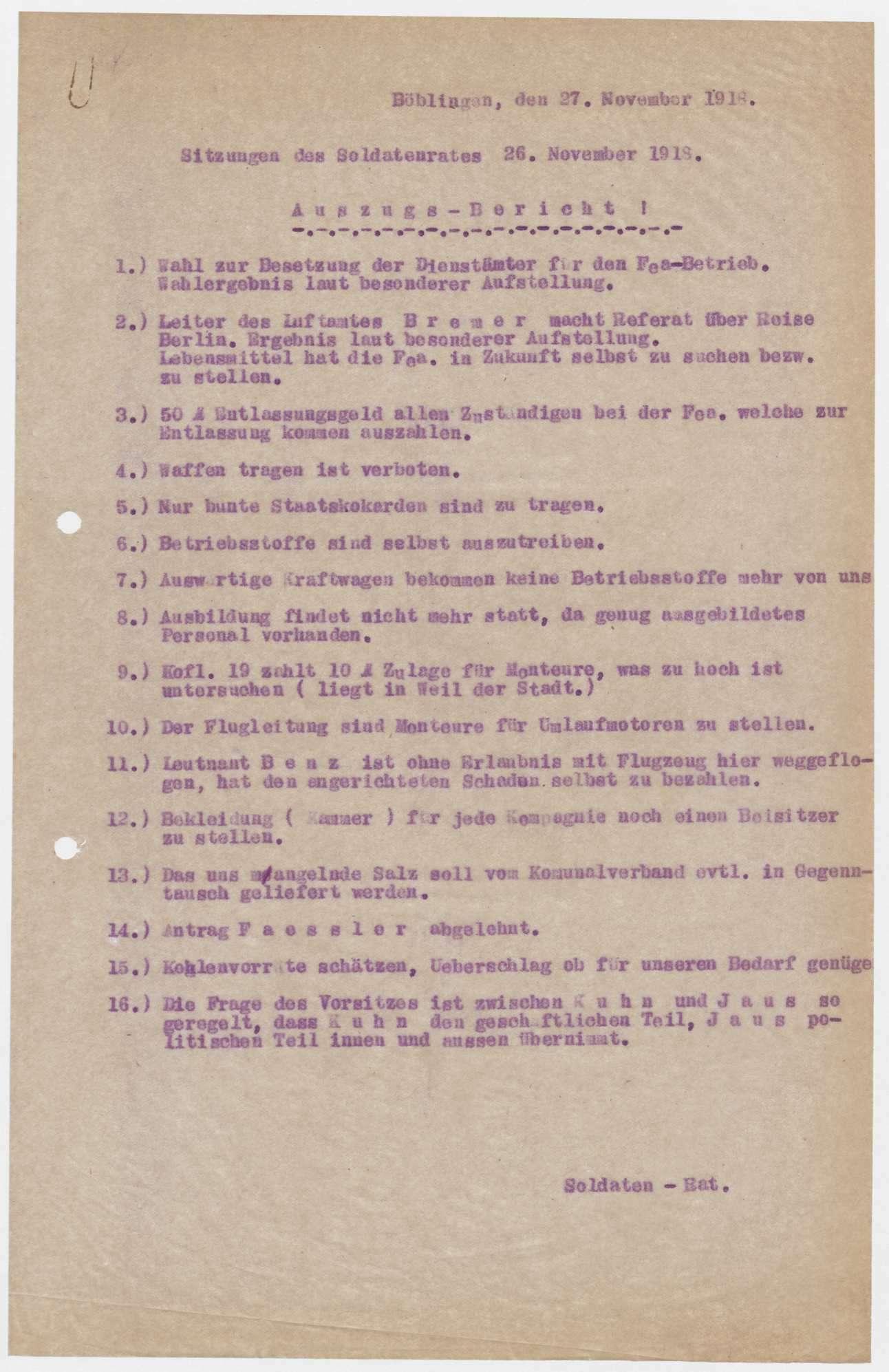 Sitzungsberichte des Soldatenrats der Flieger-Ersatz-Abteilung 10, Bild 1