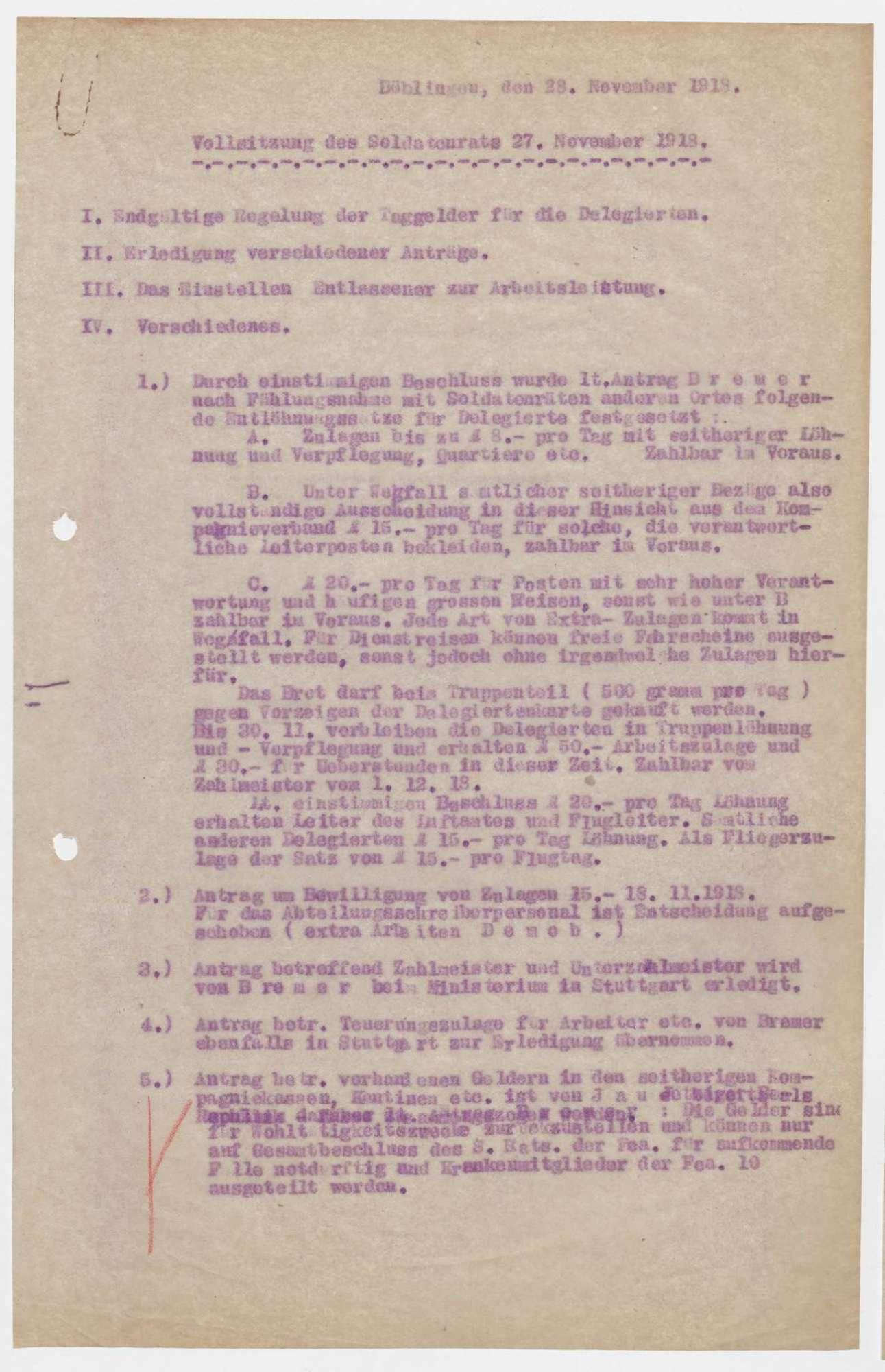 Sitzungsberichte des Soldatenrats der Flieger-Ersatz-Abteilung 10, Bild 2