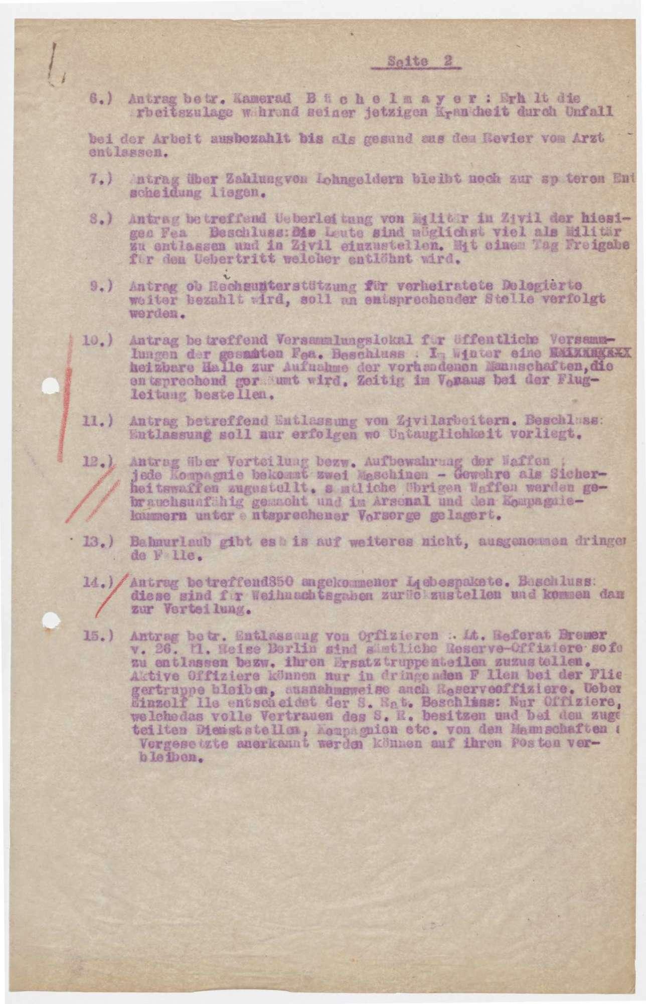 Sitzungsberichte des Soldatenrats der Flieger-Ersatz-Abteilung 10, Bild 3