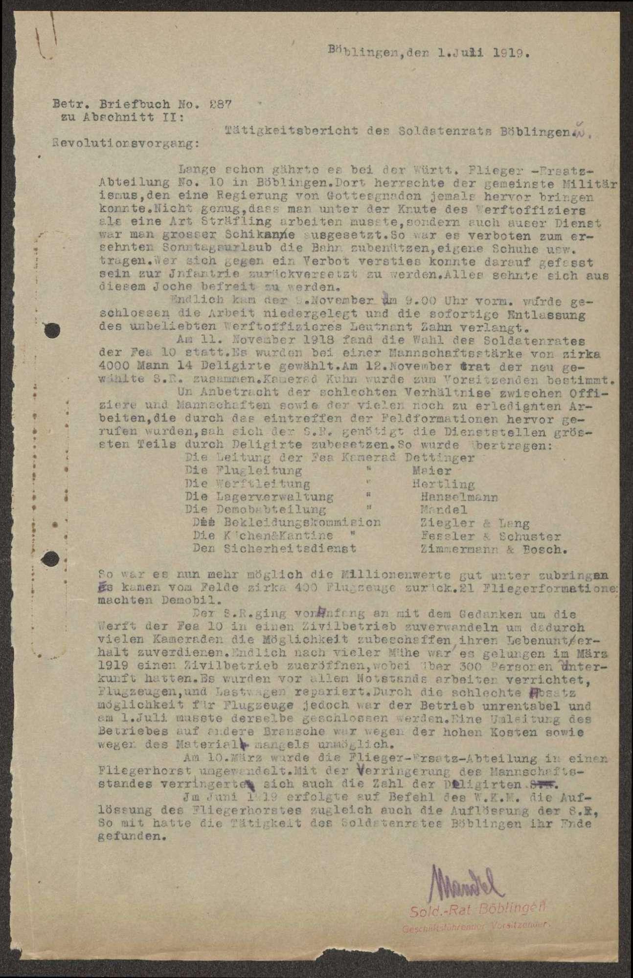 Tätigkeitsbericht des Soldatenrats Böblingen mit Bericht über die Revolution bei der Flieger-Ersatz-Abteilung 10, Bild 2