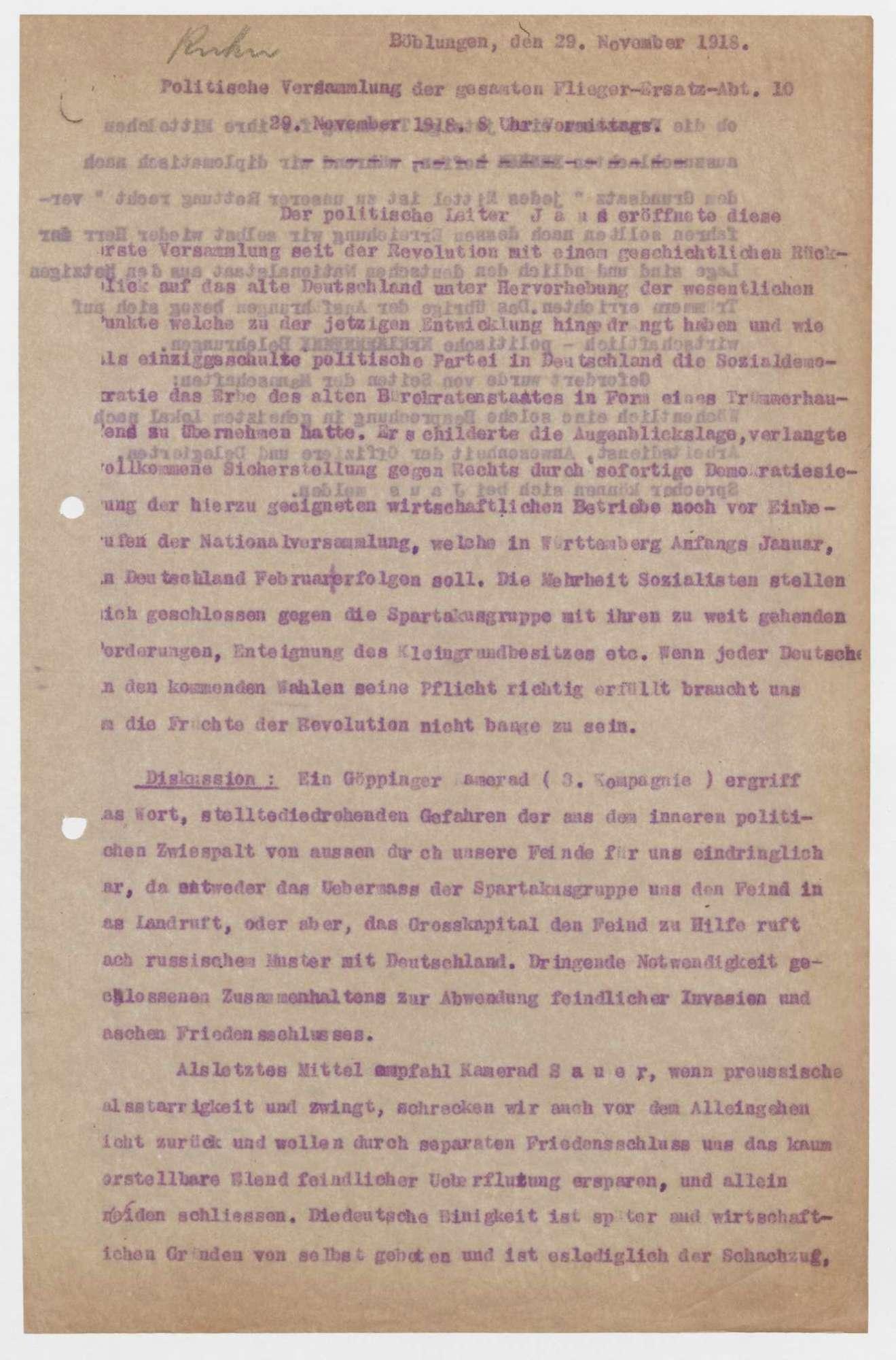 Einladung und Protokoll zu politischen Versammlungen der Flieger-Ersatz-Abteilung 10, Bild 2