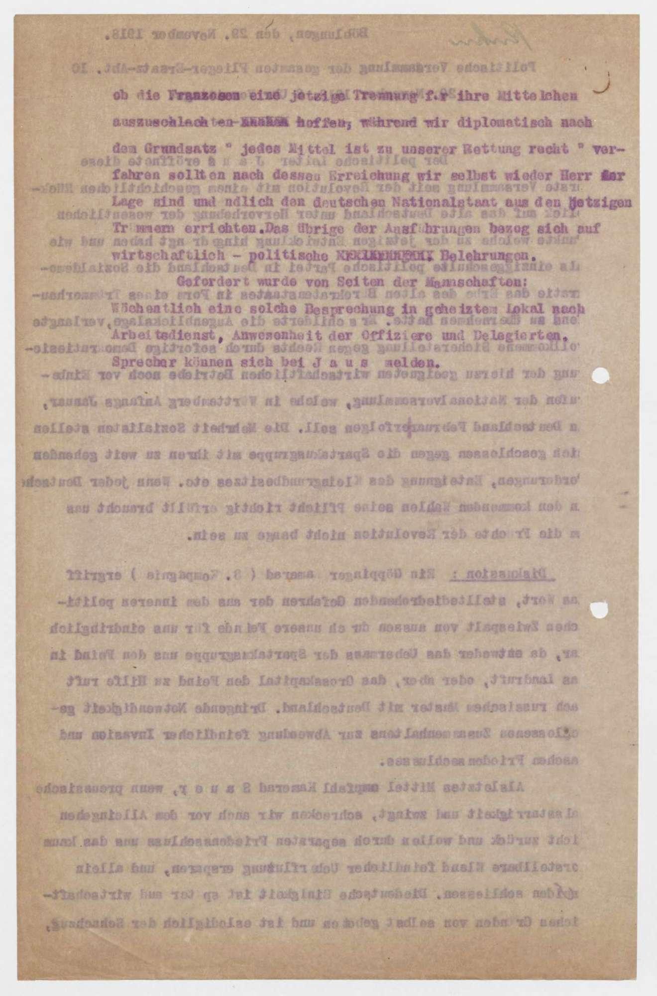 Einladung und Protokoll zu politischen Versammlungen der Flieger-Ersatz-Abteilung 10, Bild 3