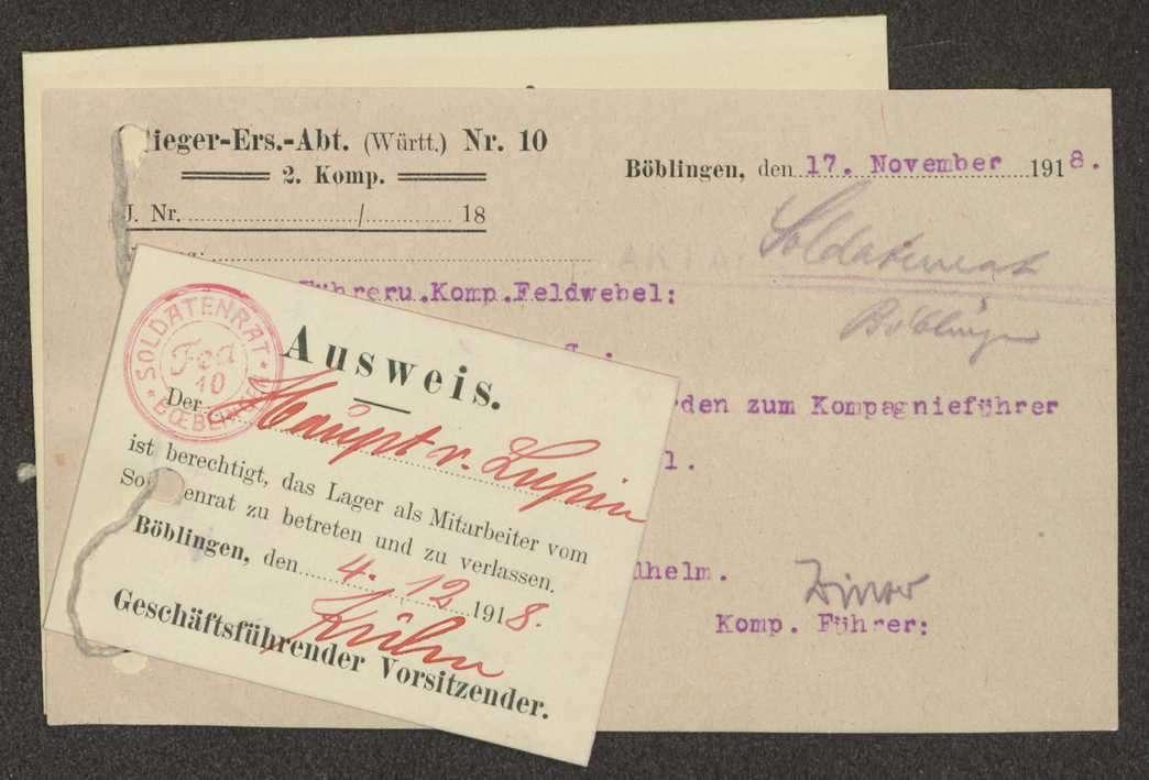 Wahl des Kompanieführers und des Kompaniefeldwebels der Flieger-Ersatz-Abteilung 10, Ausweise von Mitarbeitern, Bild 1