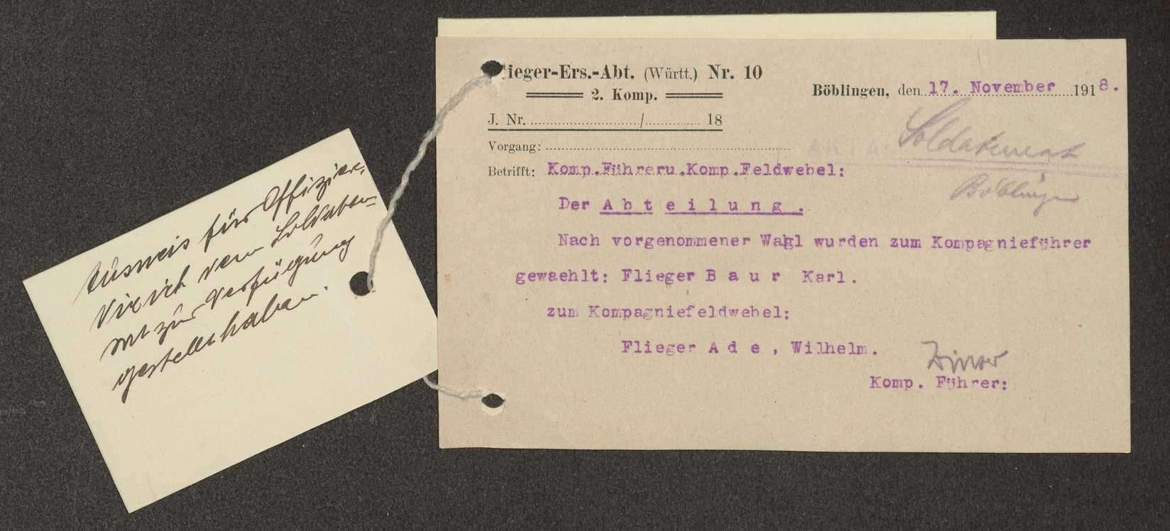 Wahl des Kompanieführers und des Kompaniefeldwebels der Flieger-Ersatz-Abteilung 10, Ausweise von Mitarbeitern, Bild 2