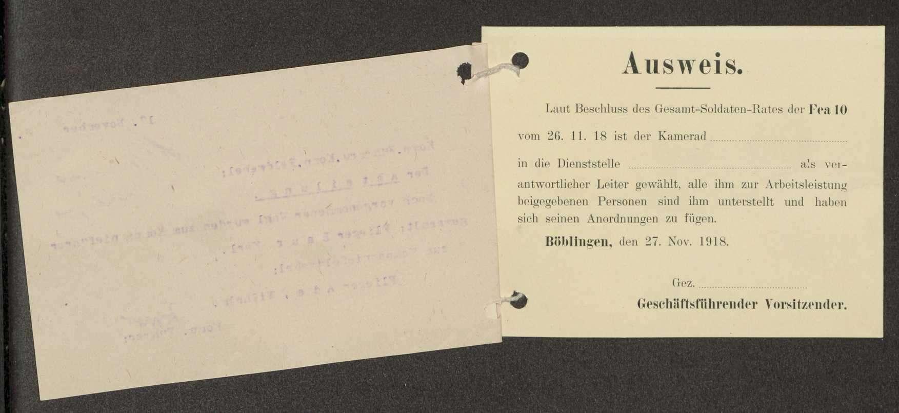 Wahl des Kompanieführers und des Kompaniefeldwebels der Flieger-Ersatz-Abteilung 10, Ausweise von Mitarbeitern, Bild 3
