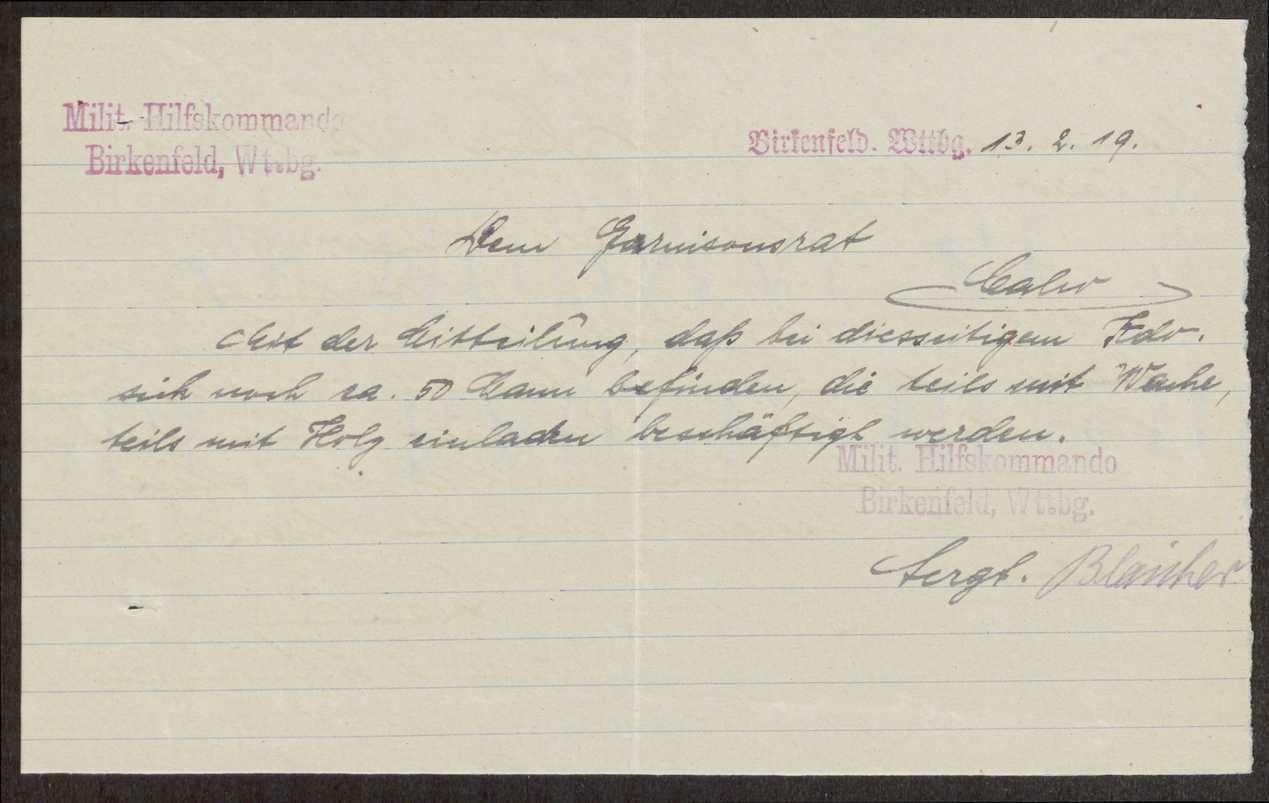 Unterstellung des Militärischen Hilfskonimandos Birkenfeld unter den Garnisonrat Calw; Anforderung von Iststärkemeldungen durch den Landesausschuss der Soldatenräte, Bild 3
