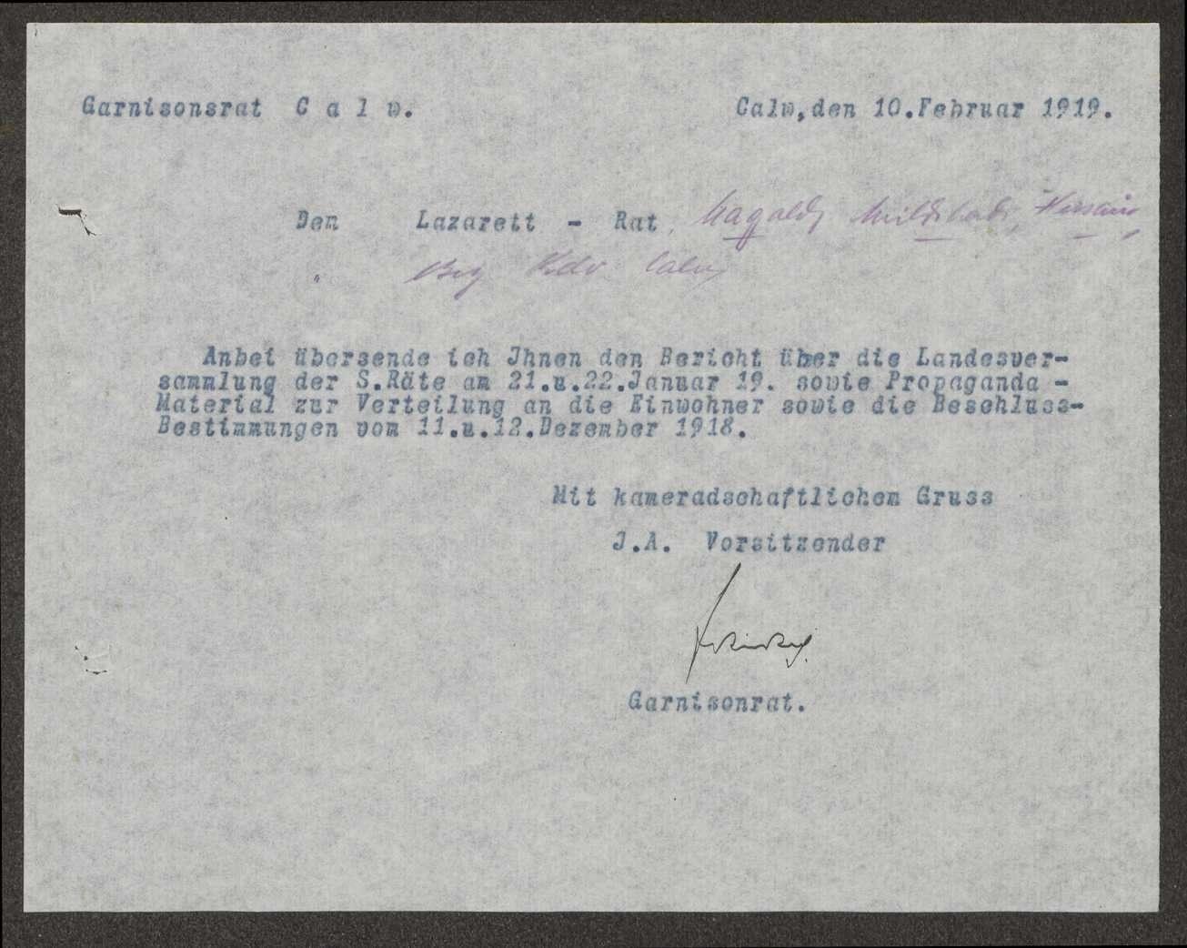 Übersendung von Propagandamaterial an die unterstellten Lazaretträte und an die Meldeämter, Bild 2