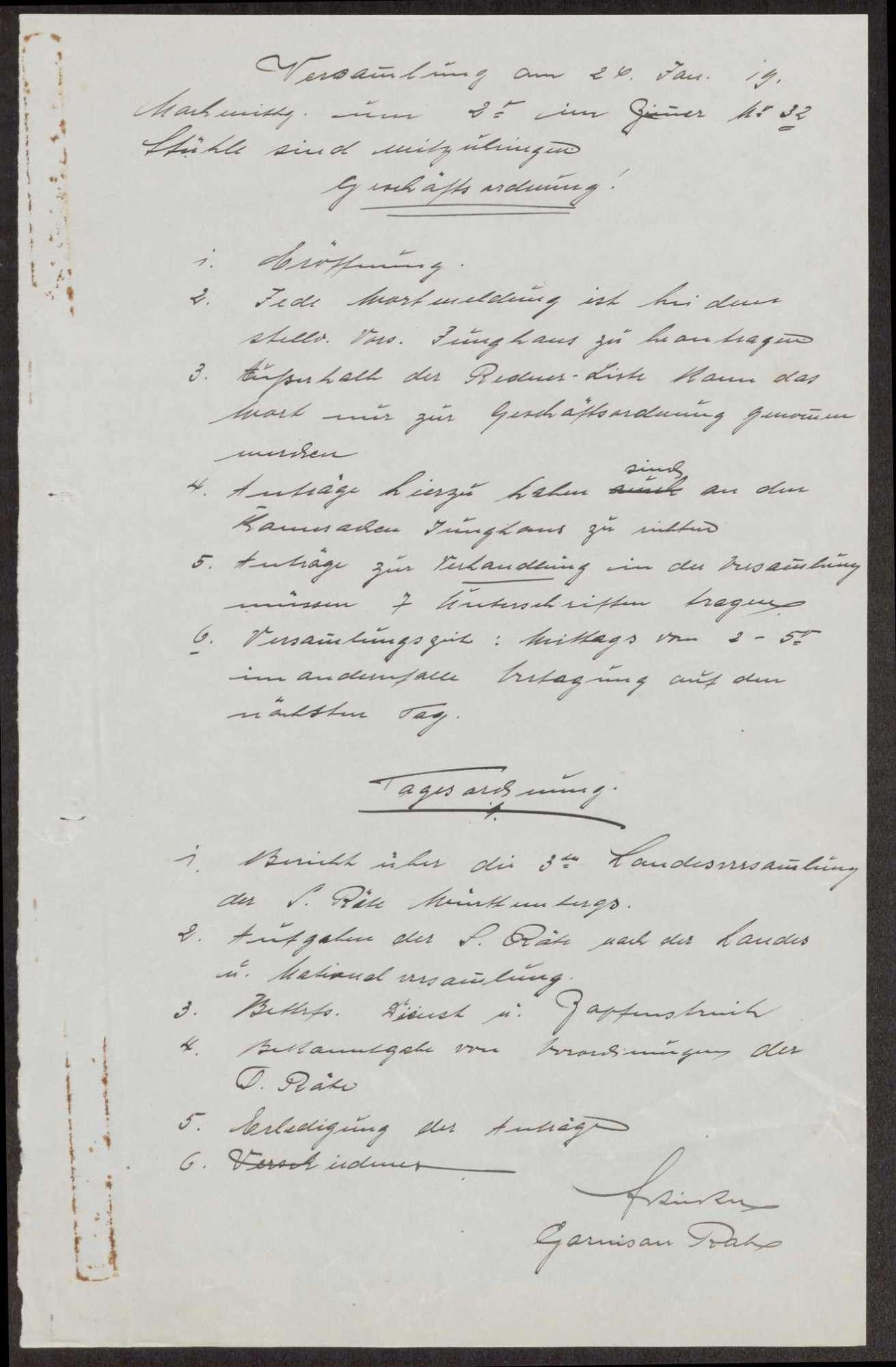 Ankündigung einer (Soldaten- ?Versammlung; Geschäfts- und Tagesordnung, Bild 1