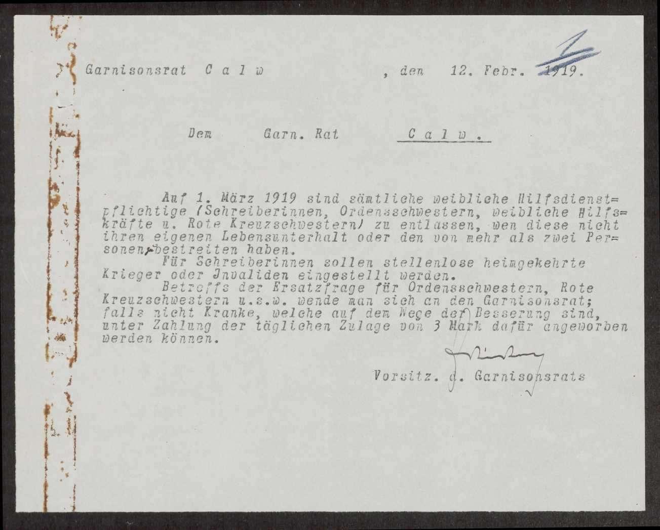 Regelung der Entlassung der weiblichen Hilfsdienstpflichtigen und ersatzweise Einstellung von stellenlosen heimgekehrten Soldaten, Bild 1