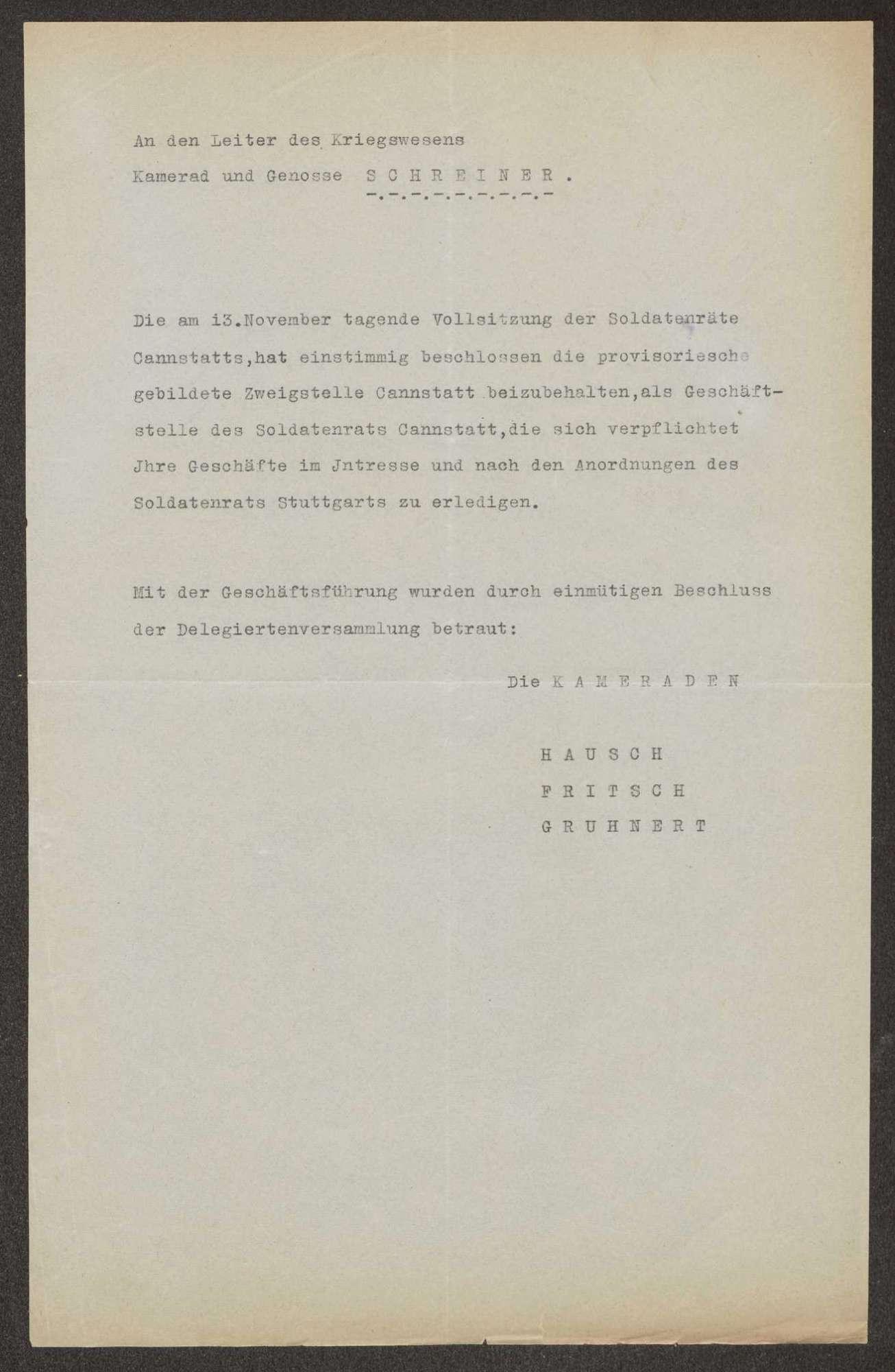 Beibehaltung der Geschäftsstelle des Soldatenrats Cannstatt, Bild 1
