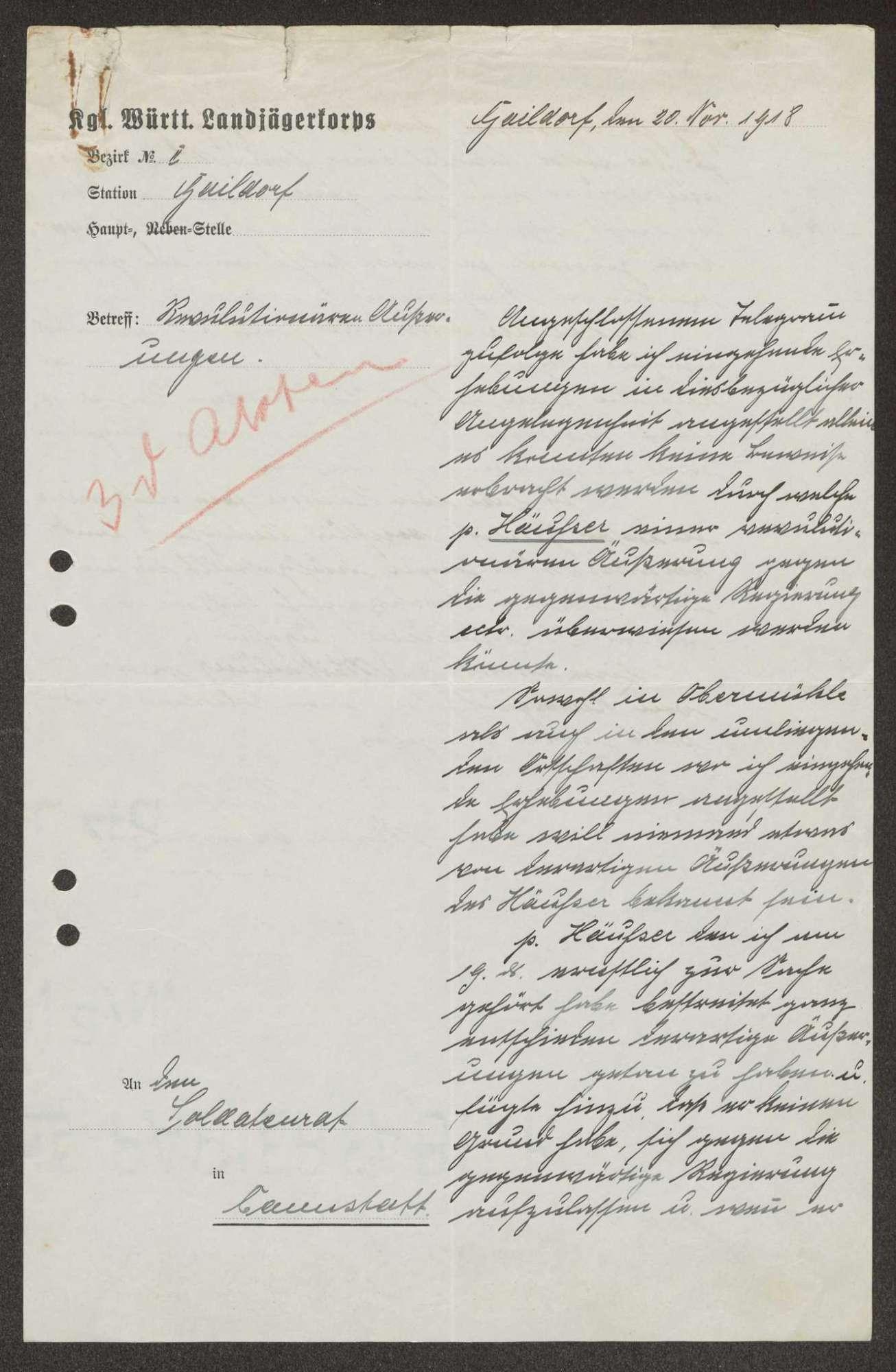 Mitteilung des Landjägerkorps Gaildorf über angebliche anti-revolutionäre Äußerungen eines Mühlenbesitzers, Bild 2