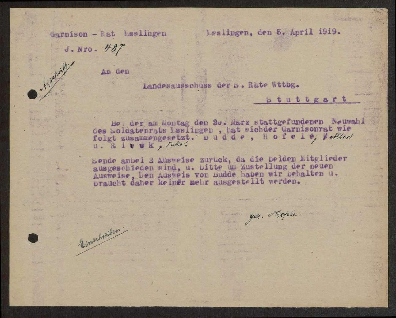 Zusammensetzung des Garnisonrats Esslingen, Bild 1