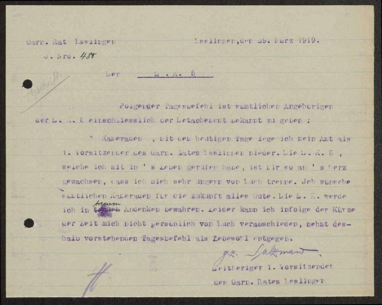 Zusammensetzung des Garnisonrats Esslingen, Bild 2