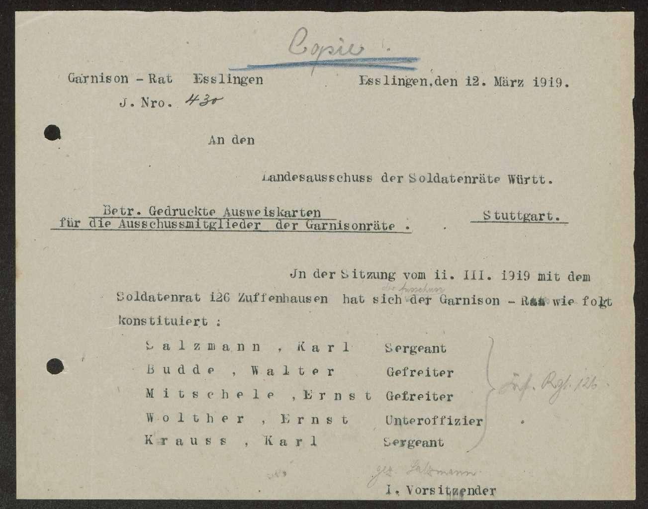 Zusammensetzung des Garnisonrats Esslingen, Bild 3