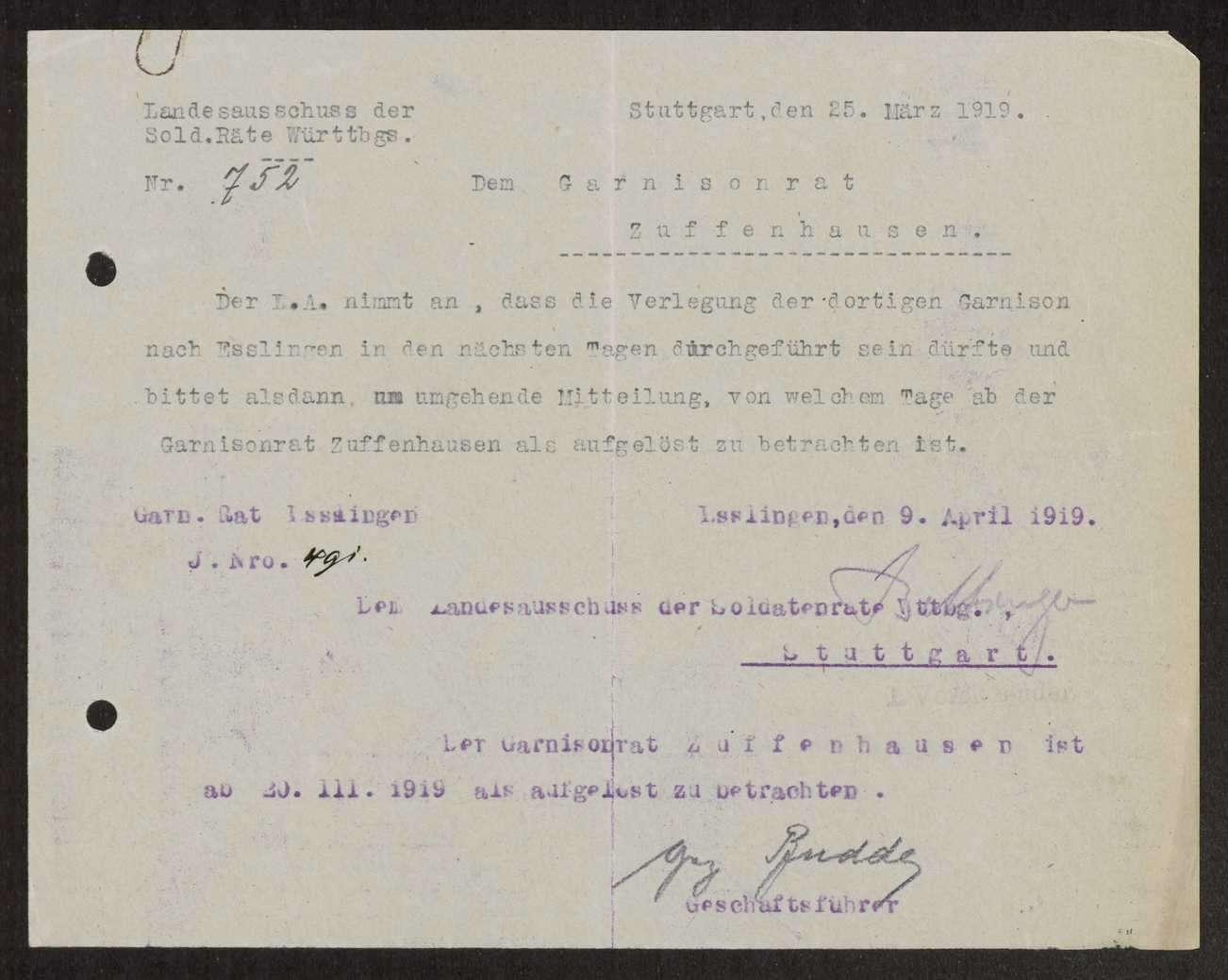Aufhebung des Garnisonrats Esslingen, Bild 1