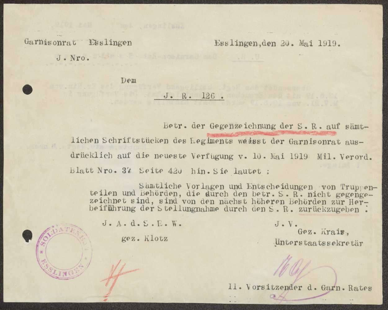Mangelnde Beachtung der vorgeschriebenen Gegenzeichnung durch den Soldatenrat beim Infanterie-Regiment Nr. 12 6, Bild 2