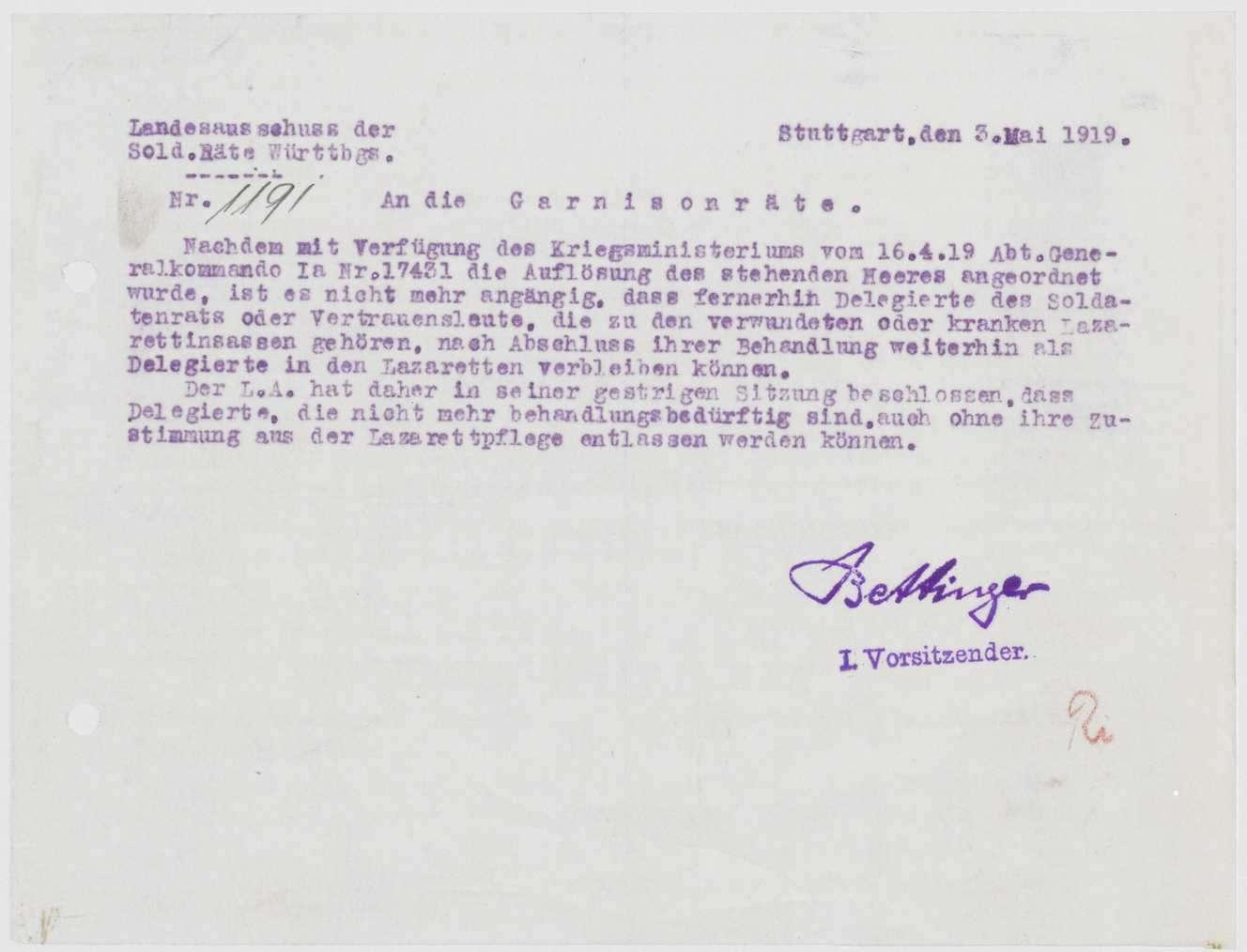 Aufhebung der Soldatenräte, Bemühungen des Landesausschusses der Soldatenräte um die Versorgung und Verwendung der einzelnen Mitglieder, Bild 1