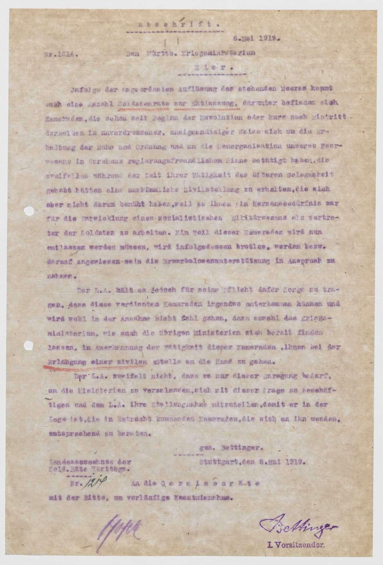 Aufhebung der Soldatenräte, Bemühungen des Landesausschusses der Soldatenräte um die Versorgung und Verwendung der einzelnen Mitglieder, Bild 3