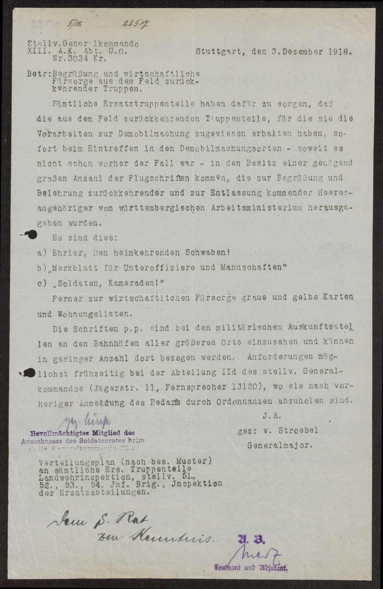 Förderung der Aufklärungs- und Propagandatätigkeit, Einrichtung einer Aufklärungssteile beim Kriegsministerium, Bild 1