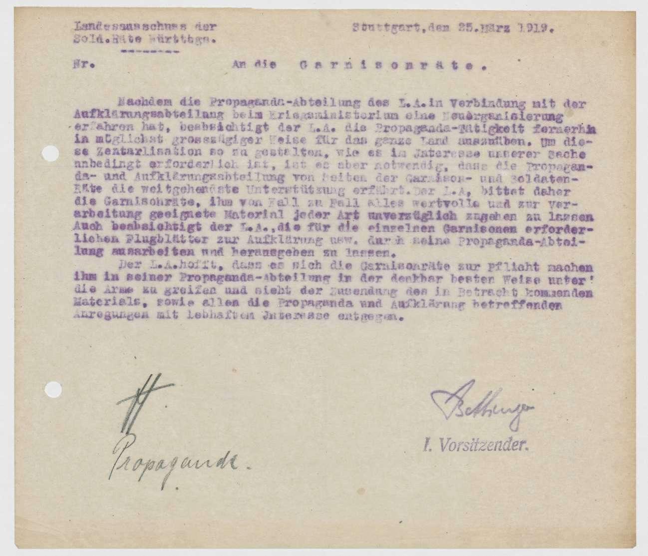Förderung der Aufklärungs- und Propagandatätigkeit, Einrichtung einer Aufklärungssteile beim Kriegsministerium, Bild 2