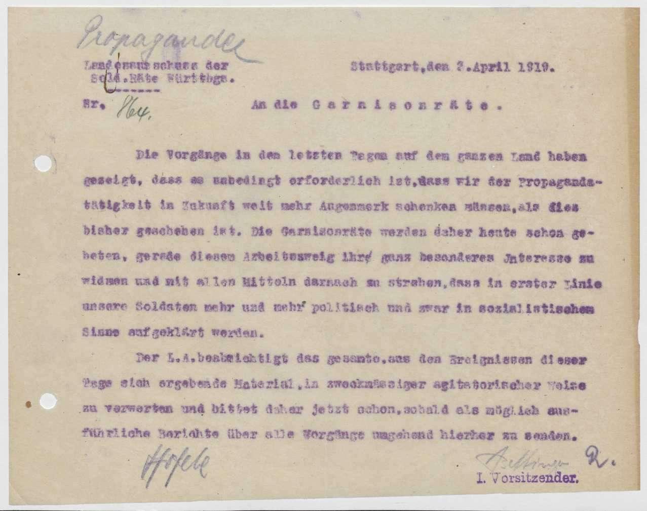 Förderung der Aufklärungs- und Propagandatätigkeit, Einrichtung einer Aufklärungssteile beim Kriegsministerium, Bild 3