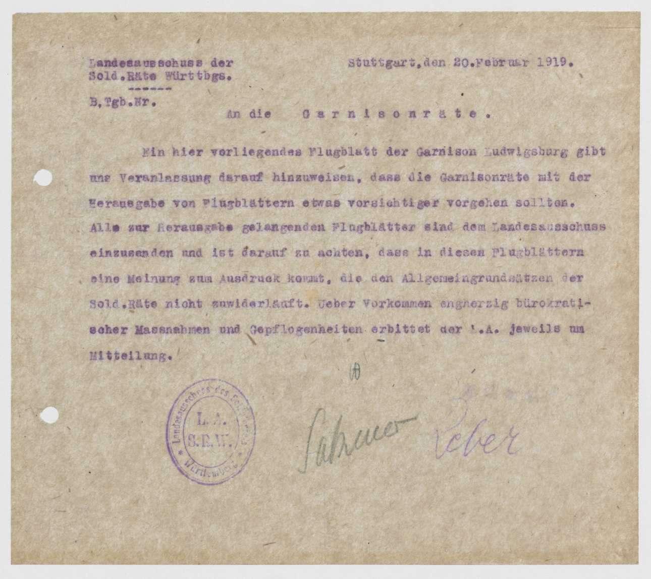 Herausgabe, Übersendung von Flugblättern an den Garnisonrat, Bild 1