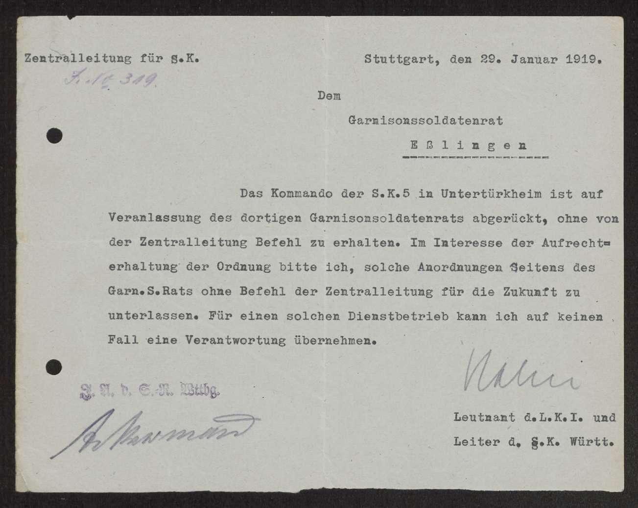 Zuständigkeitsbereich der dem Garnisonrat unterstehenden Sicherheitstruppen, Auflösung des Kommandos Esslingen der Sicherheitskompanie 5, Bild 1
