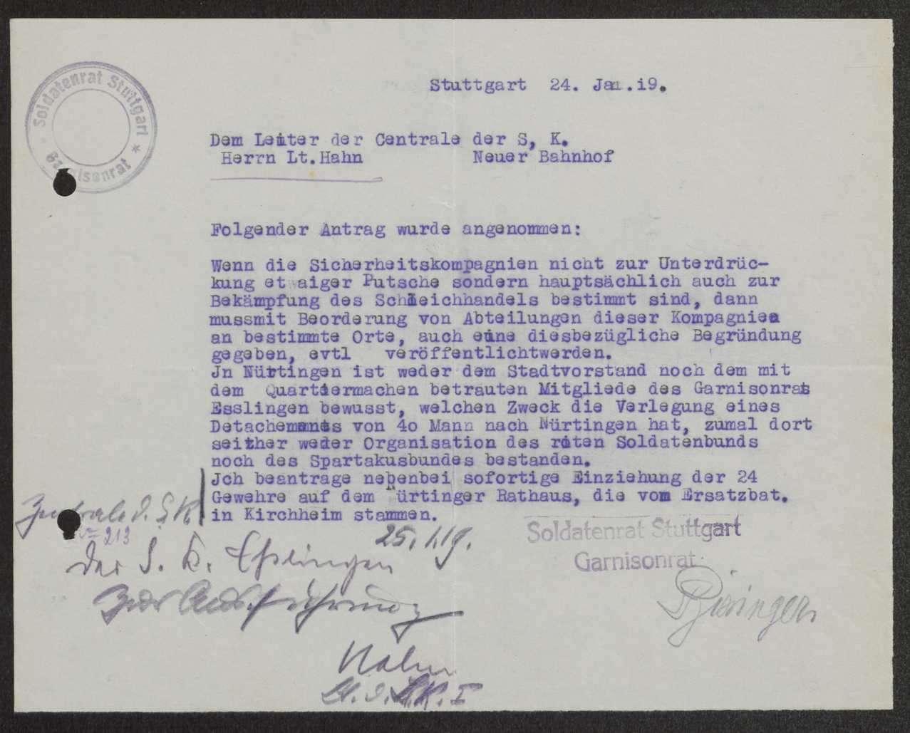 Zuständigkeitsbereich der dem Garnisonrat unterstehenden Sicherheitstruppen, Auflösung des Kommandos Esslingen der Sicherheitskompanie 5, Bild 3