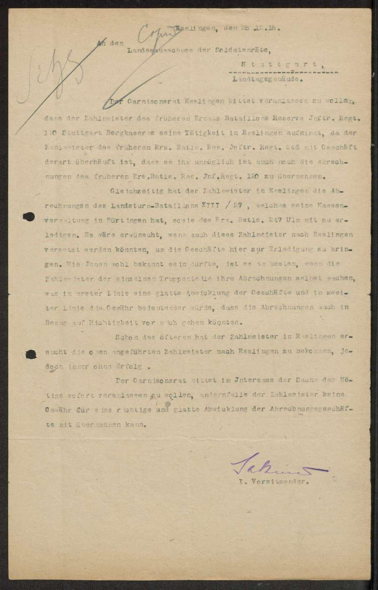 Liste der beim Ersatz-Bataillon des Reserve-Infanterie-Regiments Nr. 120 befindlichen Offiziere, Zuweisung von Zahlmeistern, Bild 2