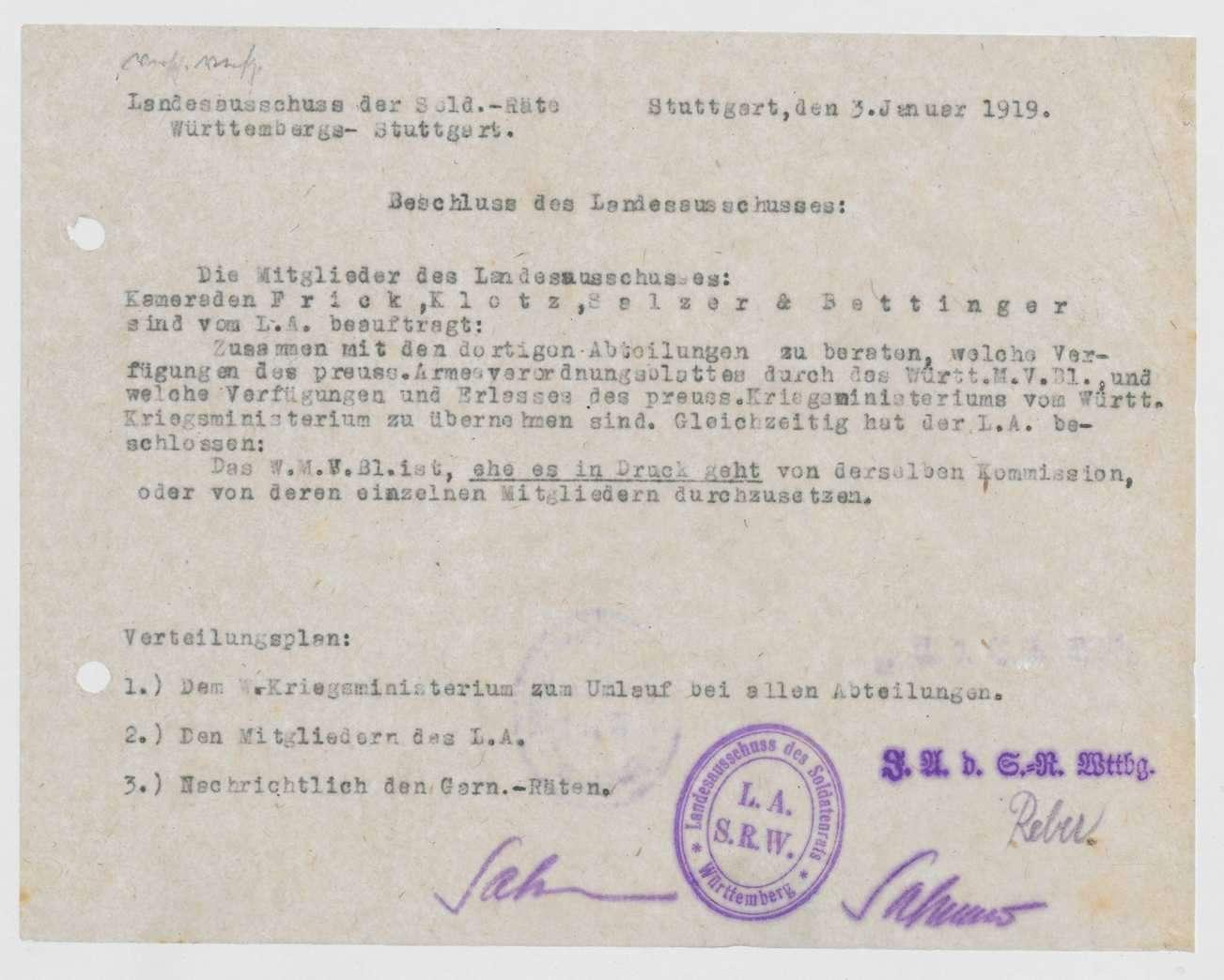 Mitteilung des Landesausschusses der Soldatenräte über die Bildung einer Kommission zur Auswahl der in das Württembergische Militärverordnungsblatt bzw. vom Kriegsministerium zu übernehmenden preußischen Verfügungen, Bild 1