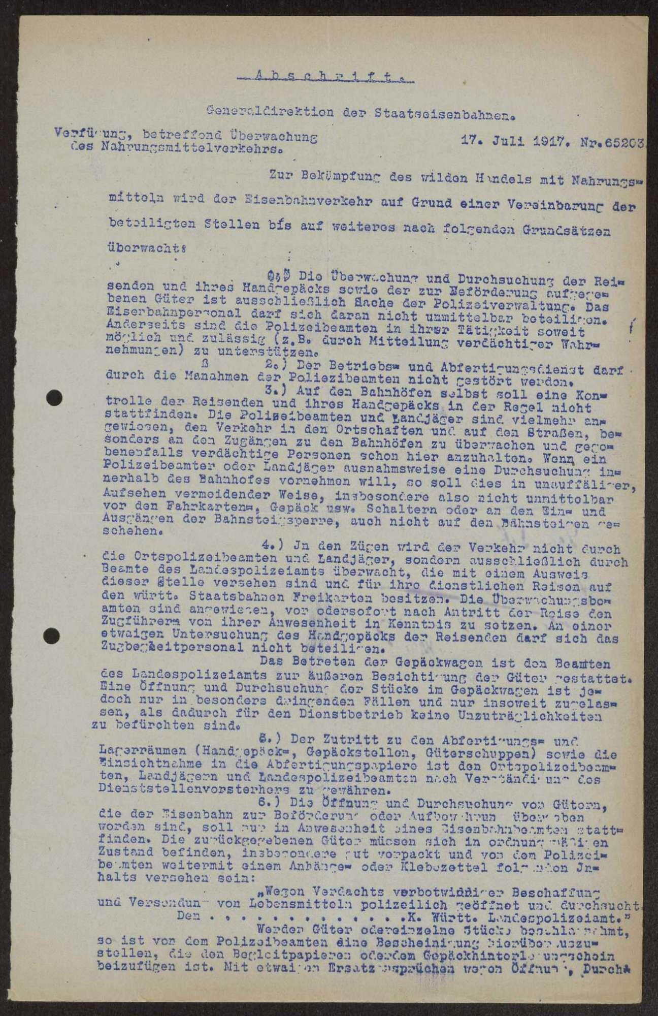 Allgemeine Verfügungen des Kriegsministeriums, Generalkommandos und anderer Stellen, Bild 1