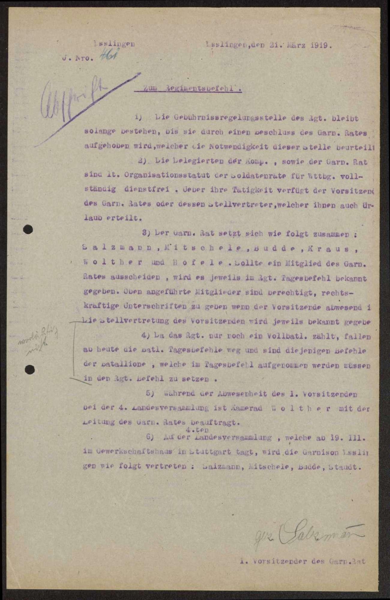 Zusatz des Garnisonrats zum Regimentsbefehl des Infanterie-Regiments Nr. 126, Bild 1