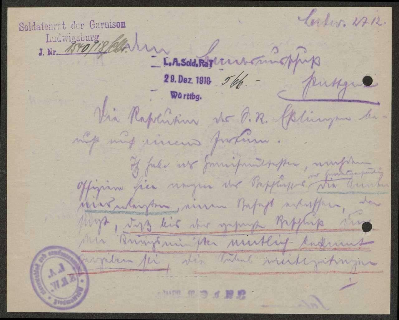Resolution des Garnisonrats Esslingen gegen einen Beschluss des Garnisonrats Ludwigsburg über das Waffentragen für Militärpersonen, Bild 2