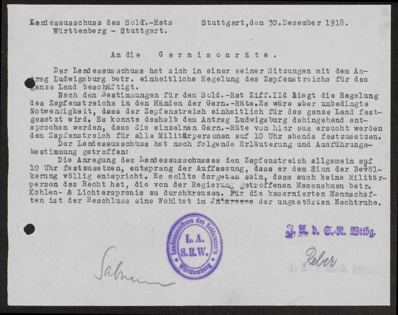 Festsetzung des Zapfenstreichs für den Bereich des XIII. Armeekorps, Bild 1